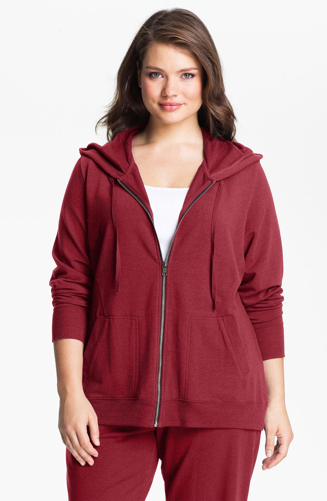 Main Image - Sejour Front Zip French Terry Hoodie (Plus)