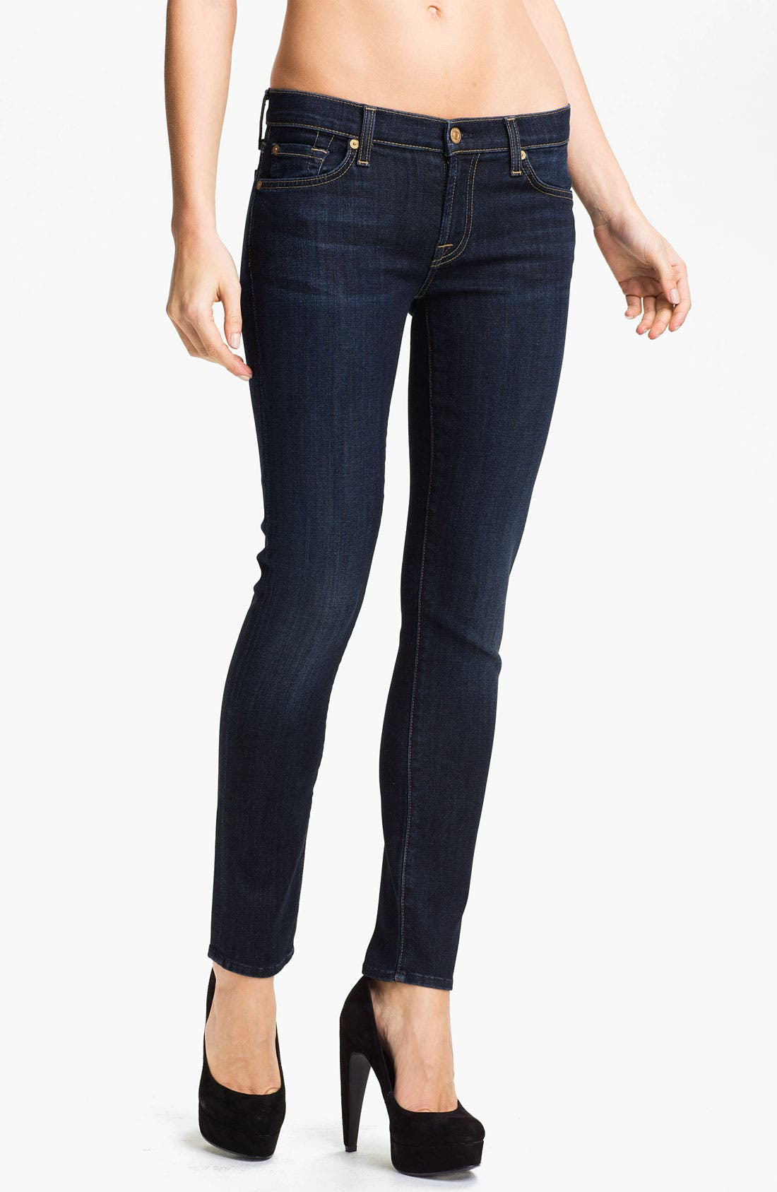 Main Image - 7 For All Mankind® 'The Slim Cigarette' Stretch Jeans (Red Cast Clean)