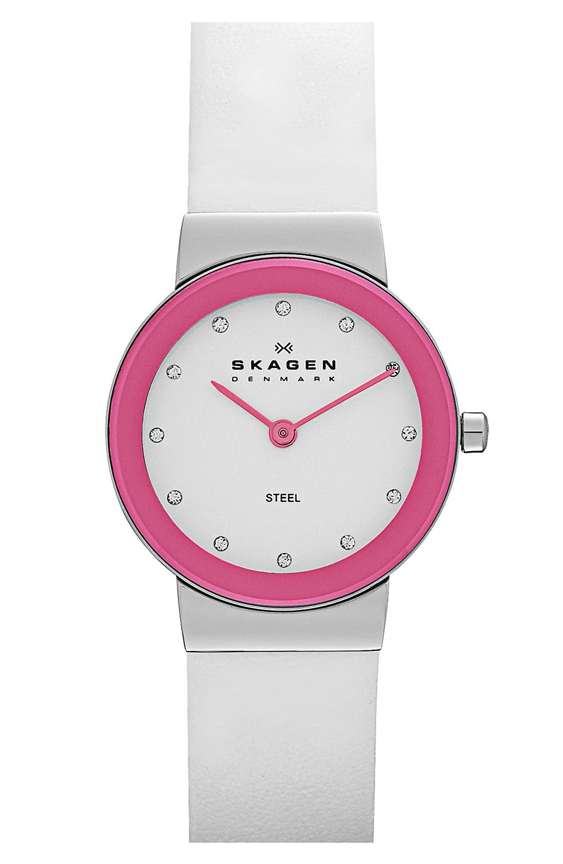 Main Image - Skagen Color Border Leather Strap Watch