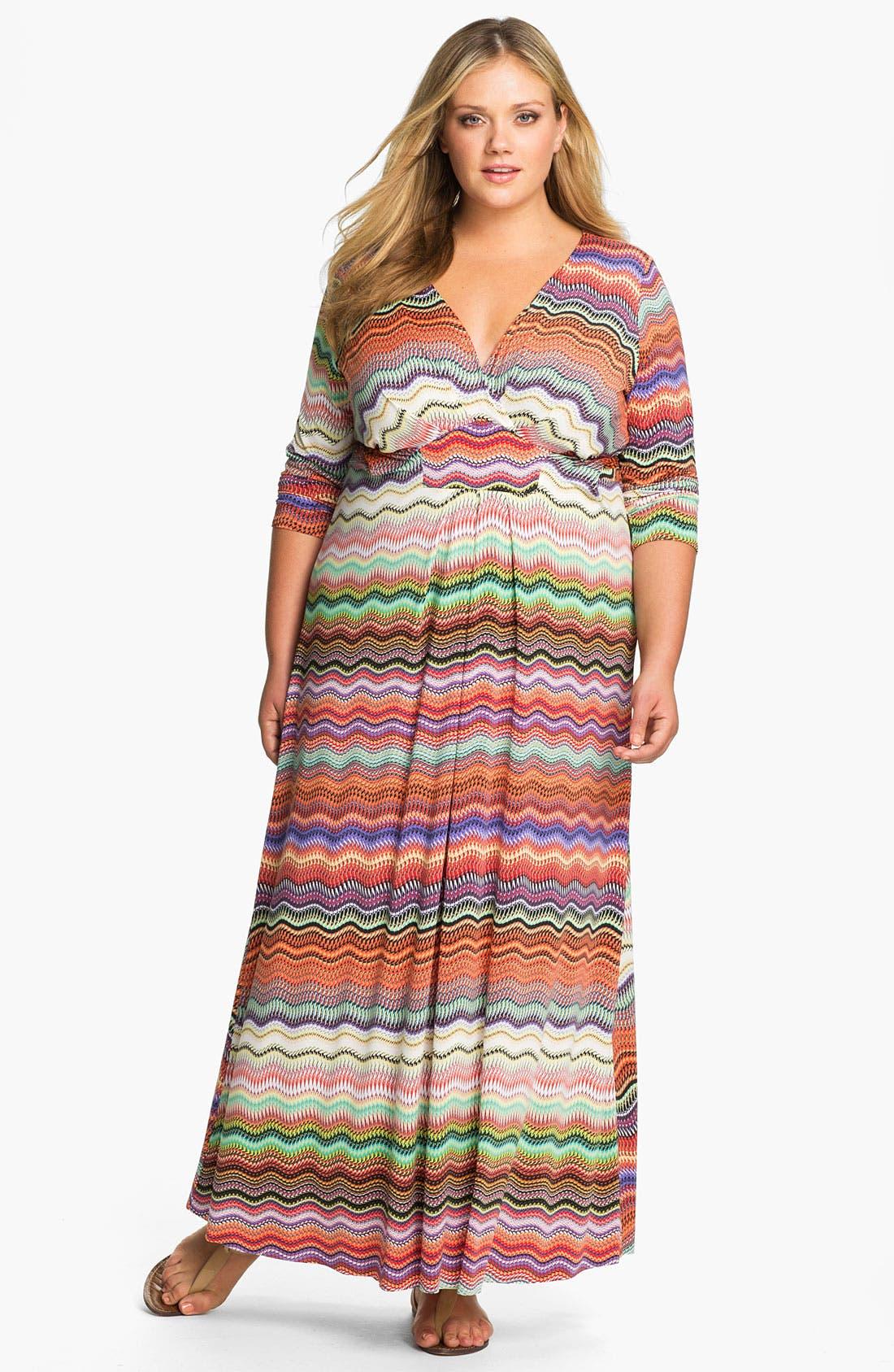 Main Image - Tbags Los Angeles Faux Wrap Maxi Dress (Plus)
