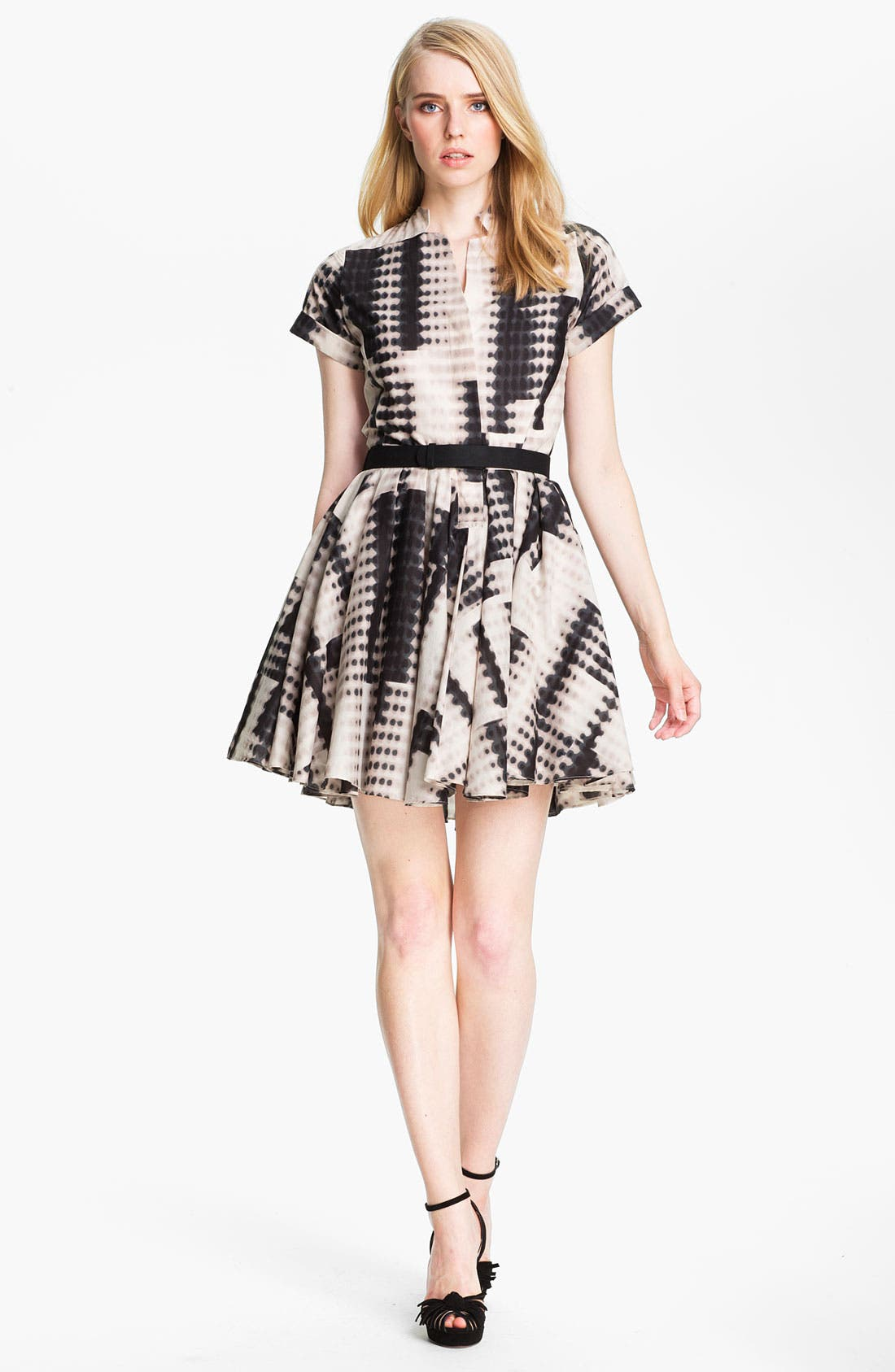 Main Image - Halston Heritage Belted Abstract Print Dress