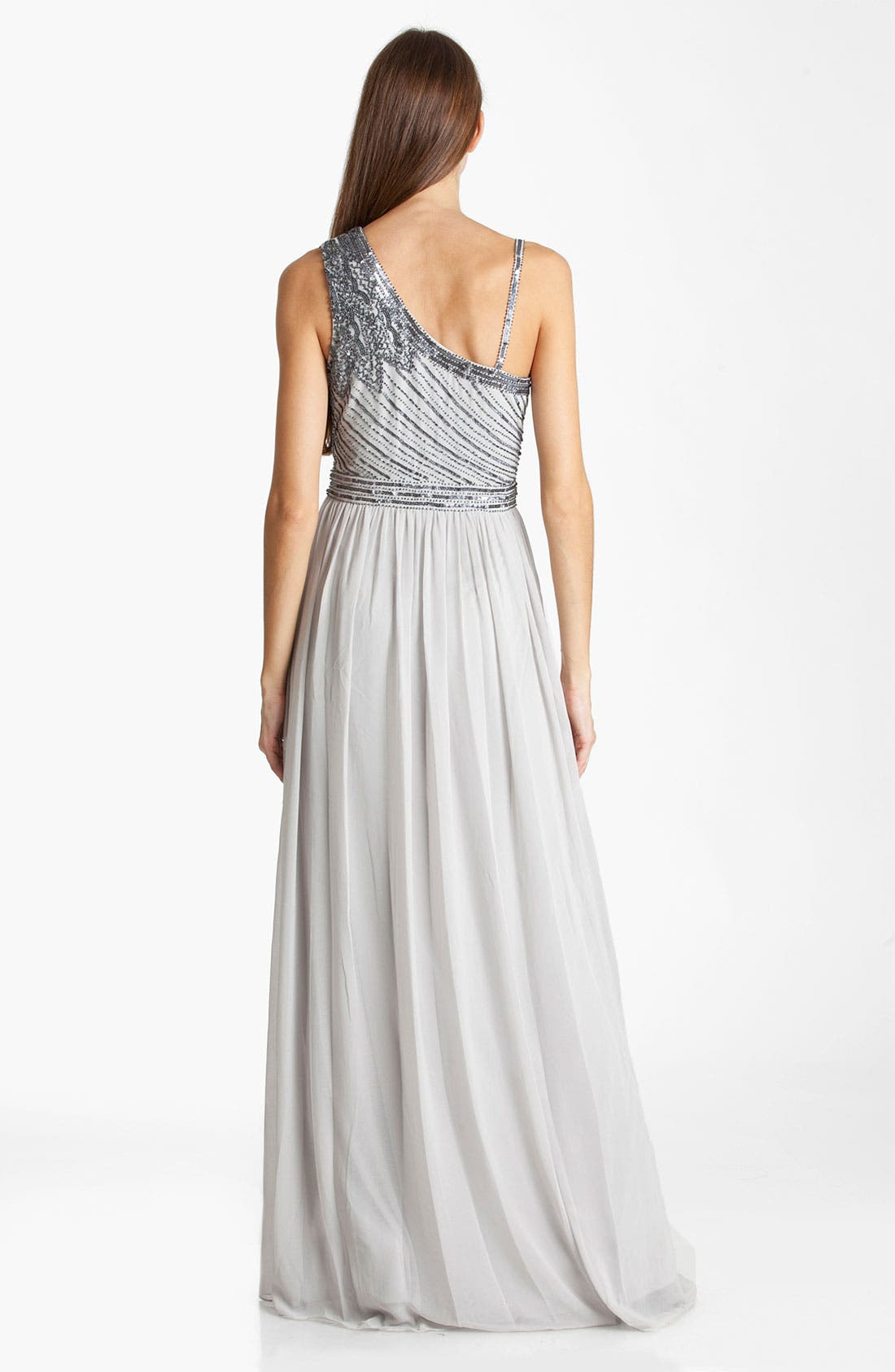 Alternate Image 2  - JS Collections Beaded Asymmetrical Shoulder Chiffon Gown