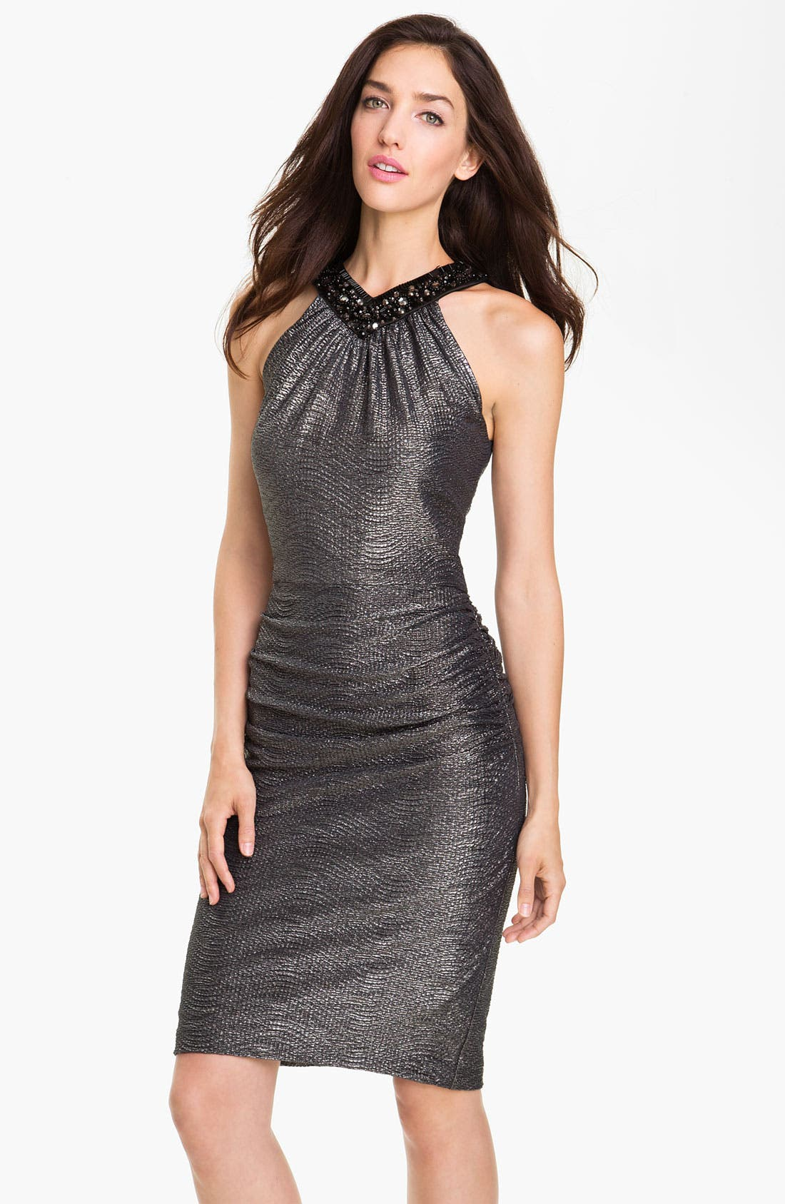 Alternate Image 1 Selected - Maggy London Beaded Neck Metallic Sheath Dress (Petite)