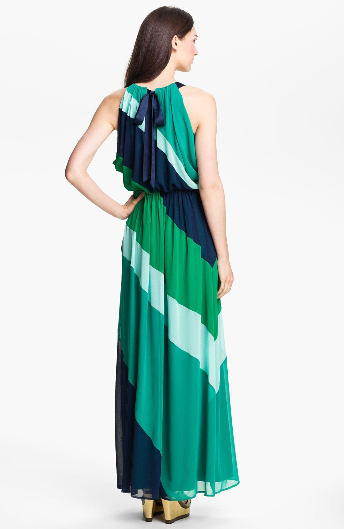 Alternate Image 2  - Vince Camuto Diagonal Colorblock Chiffon Maxi Dress