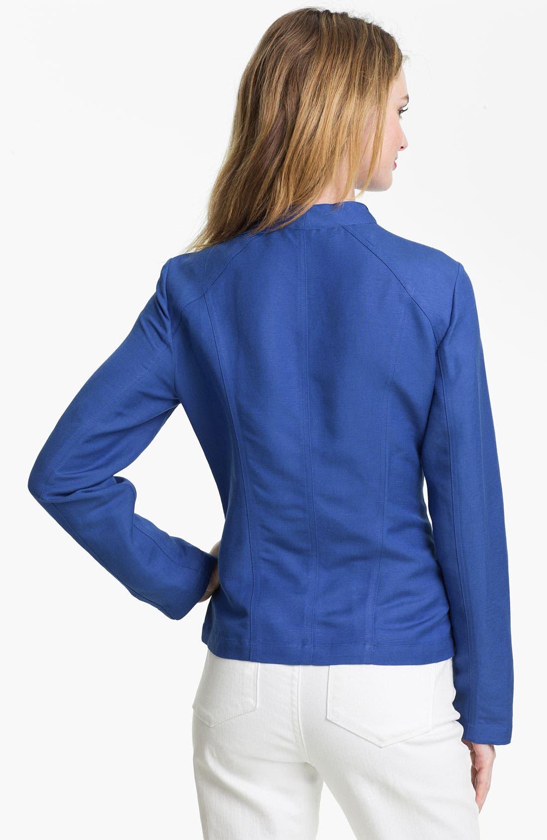 Alternate Image 2  - Calvin Klein Linen Blend Moto Jacket (Online Exclusive)