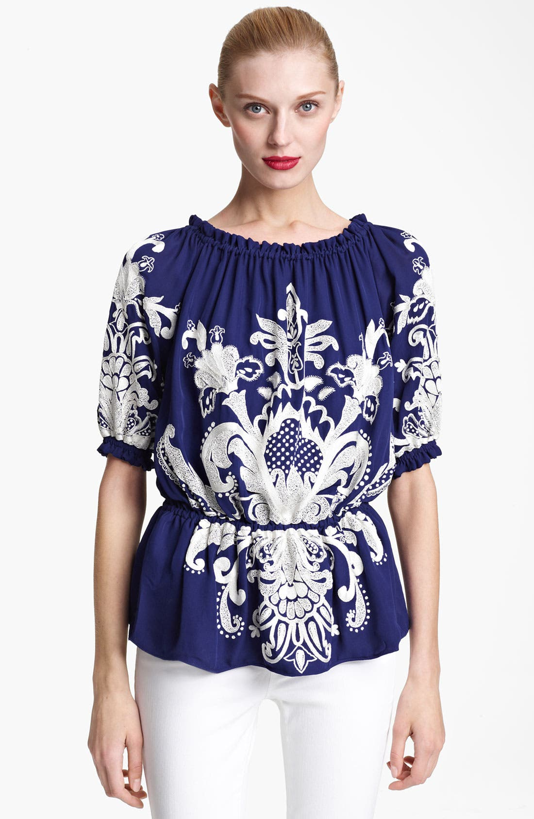 Main Image - Naeem Khan Embroidered Peasant Blouse