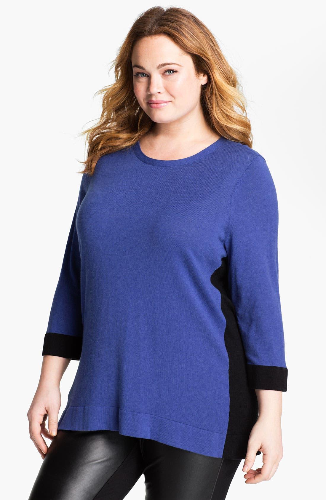 Main Image - Sejour Colorblock Sweater (Plus)