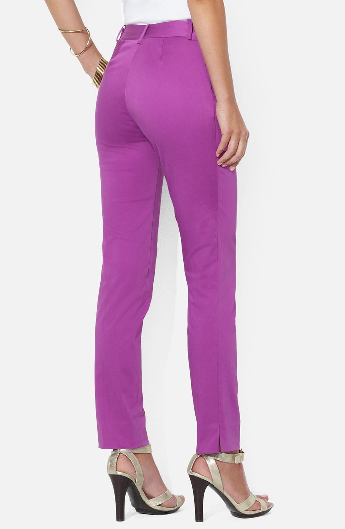 Alternate Image 2  - Lauren Ralph Lauren Stretch Cotton Ankle Pants (Petite)