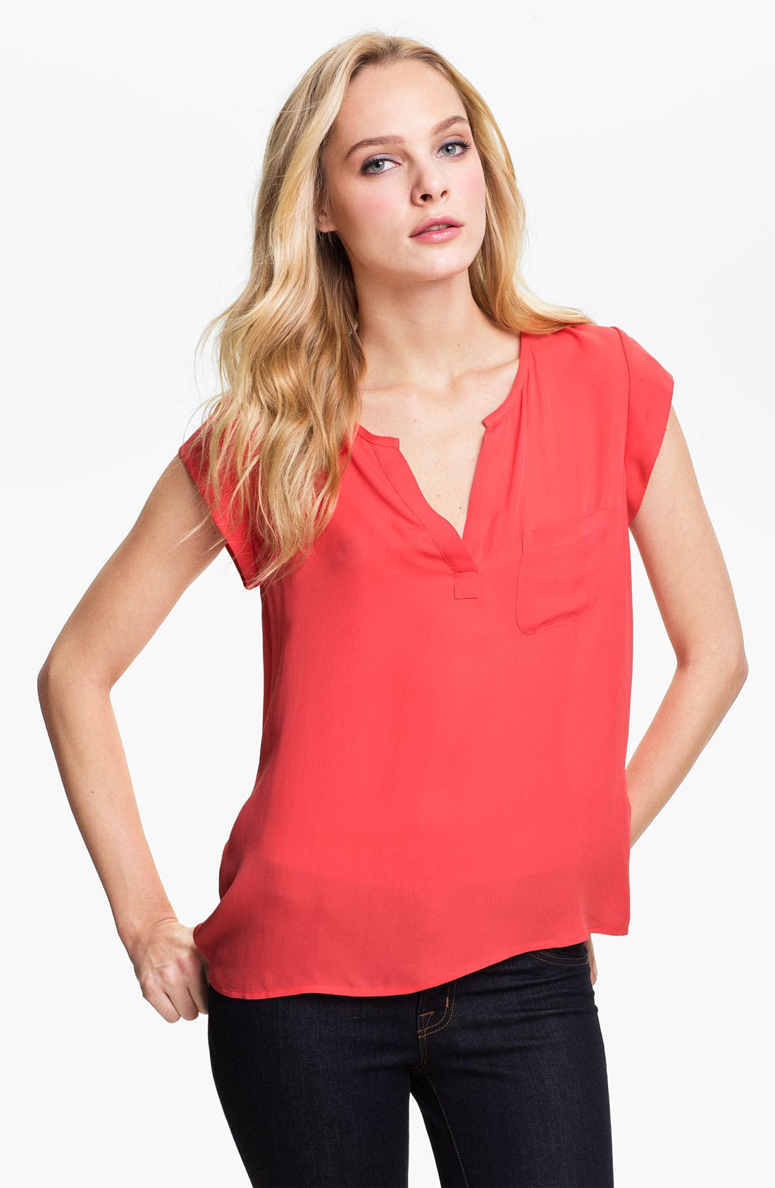 Alternate Image 1 Selected - Joie 'Siegal' Split Neck Silk Top