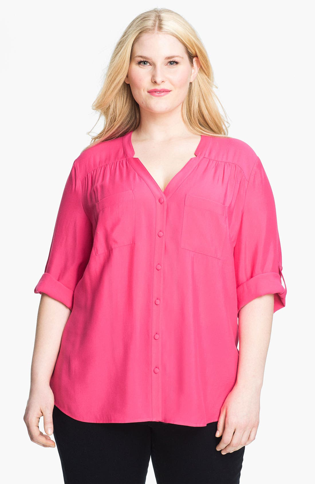 Main Image - Sejour Roll Sleeve Split V-Neck Shirt