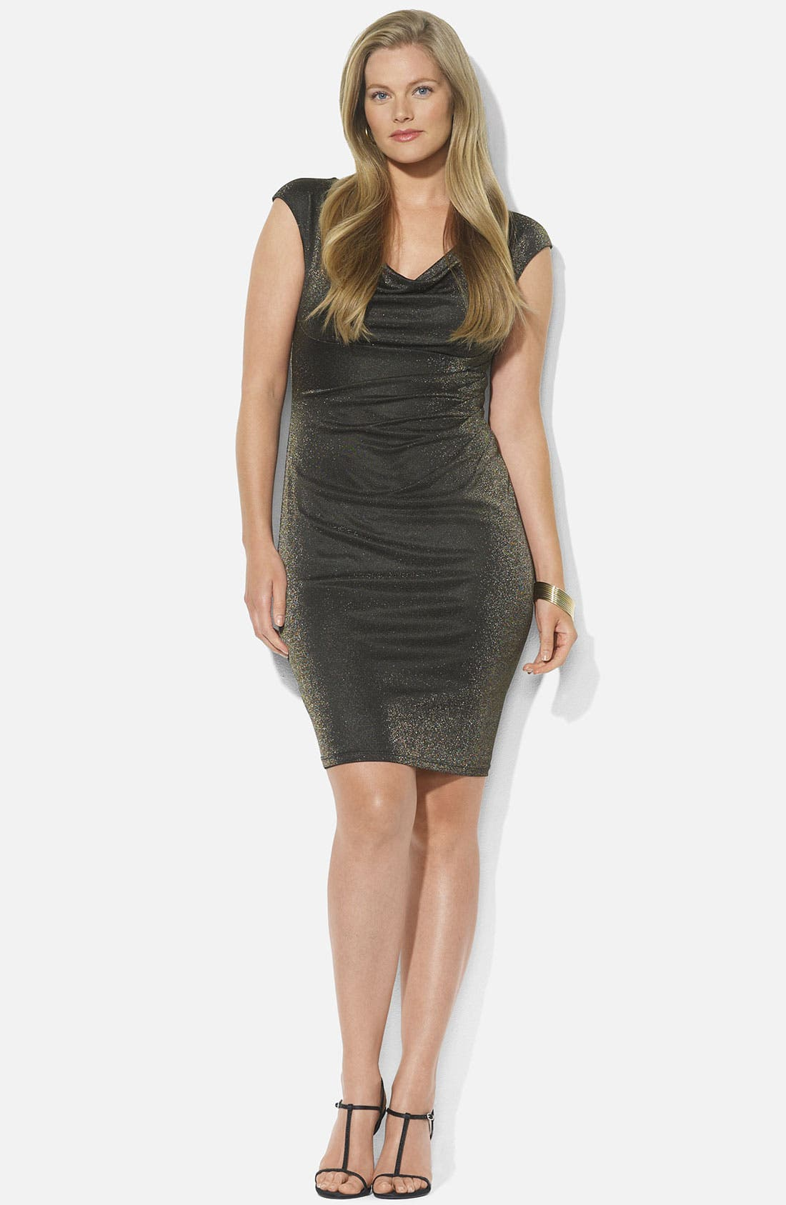 Main Image - Lauren Ralph Lauren Metallic Knit Sheath Dress (Plus)
