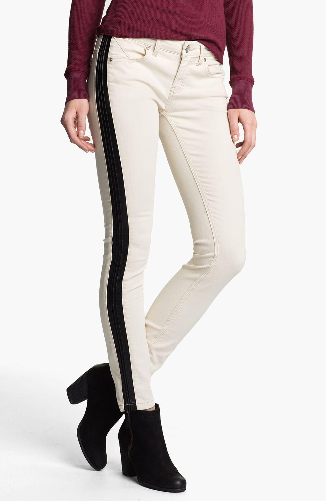 Main Image - Free People Faux Leather Stripe Skinny Jeans (Ecru)