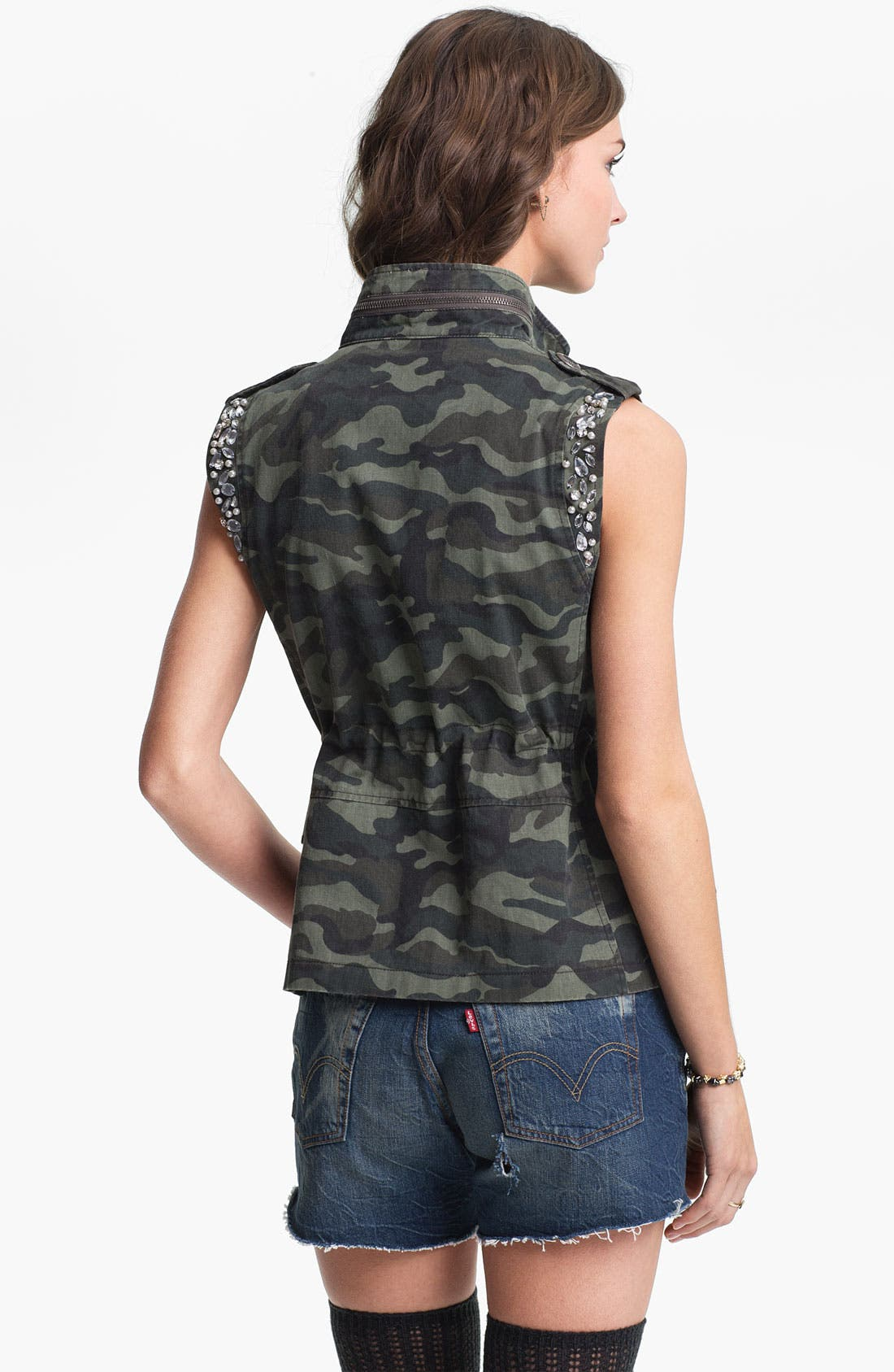 Alternate Image 2  - Jolt Rhinestone Embellished Camo Vest (Juniors)