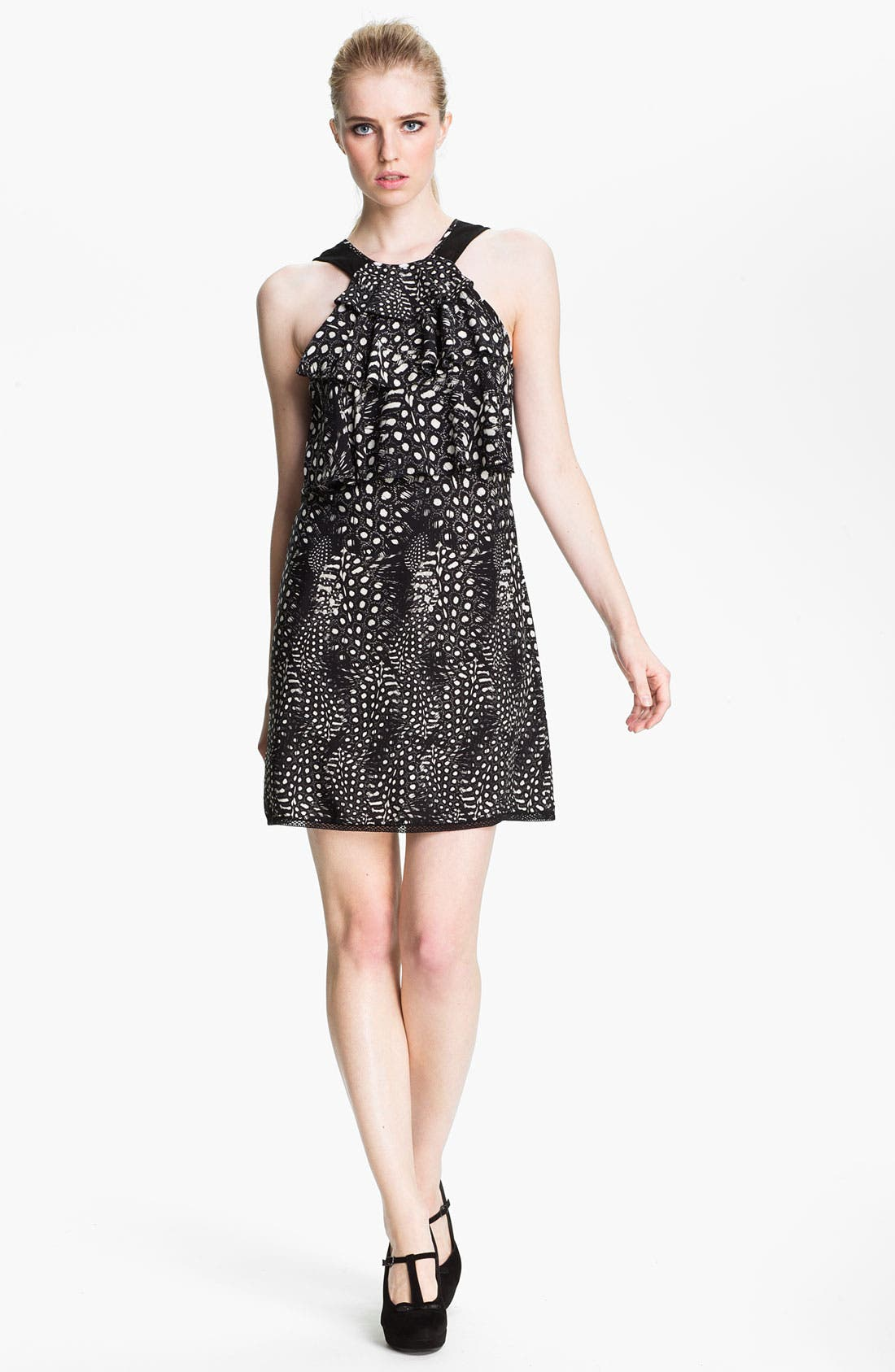 Alternate Image 1 Selected - Cut25 Feather & Dot Print Ruffled Shift Dress