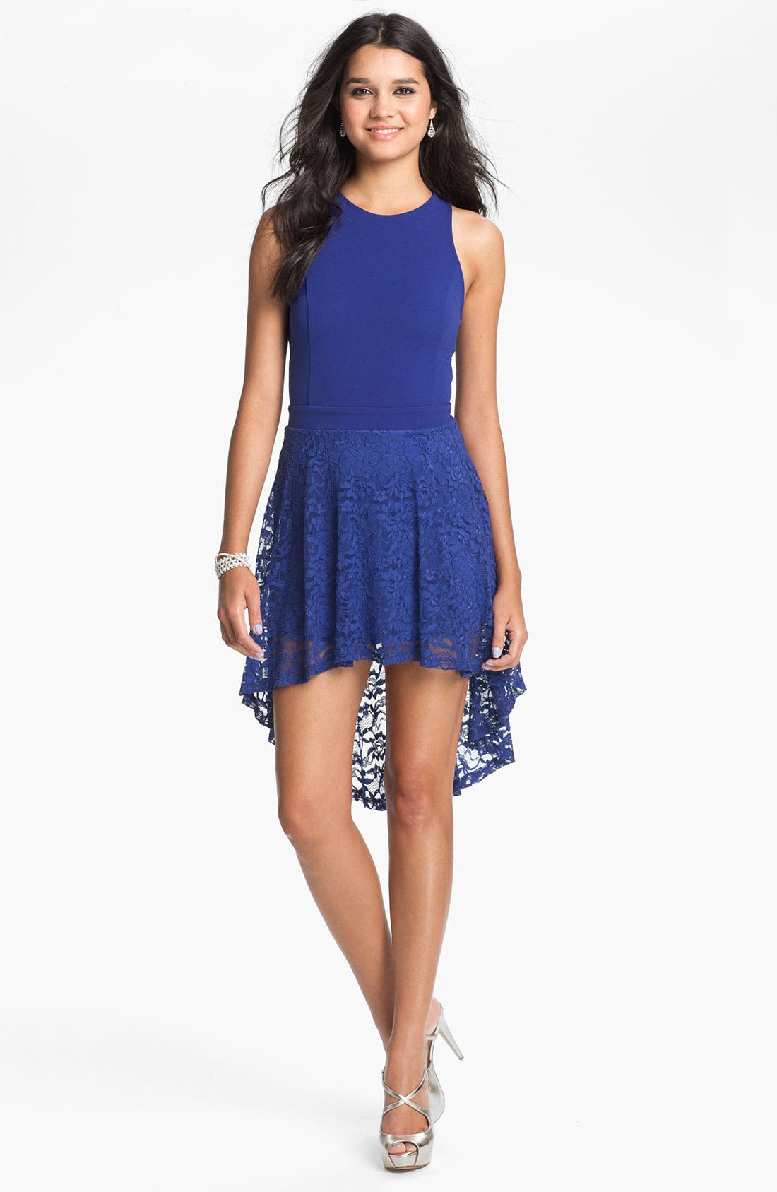 Alternate Image 2  - Lush High/Low Lace Cutout Dress (Juniors)
