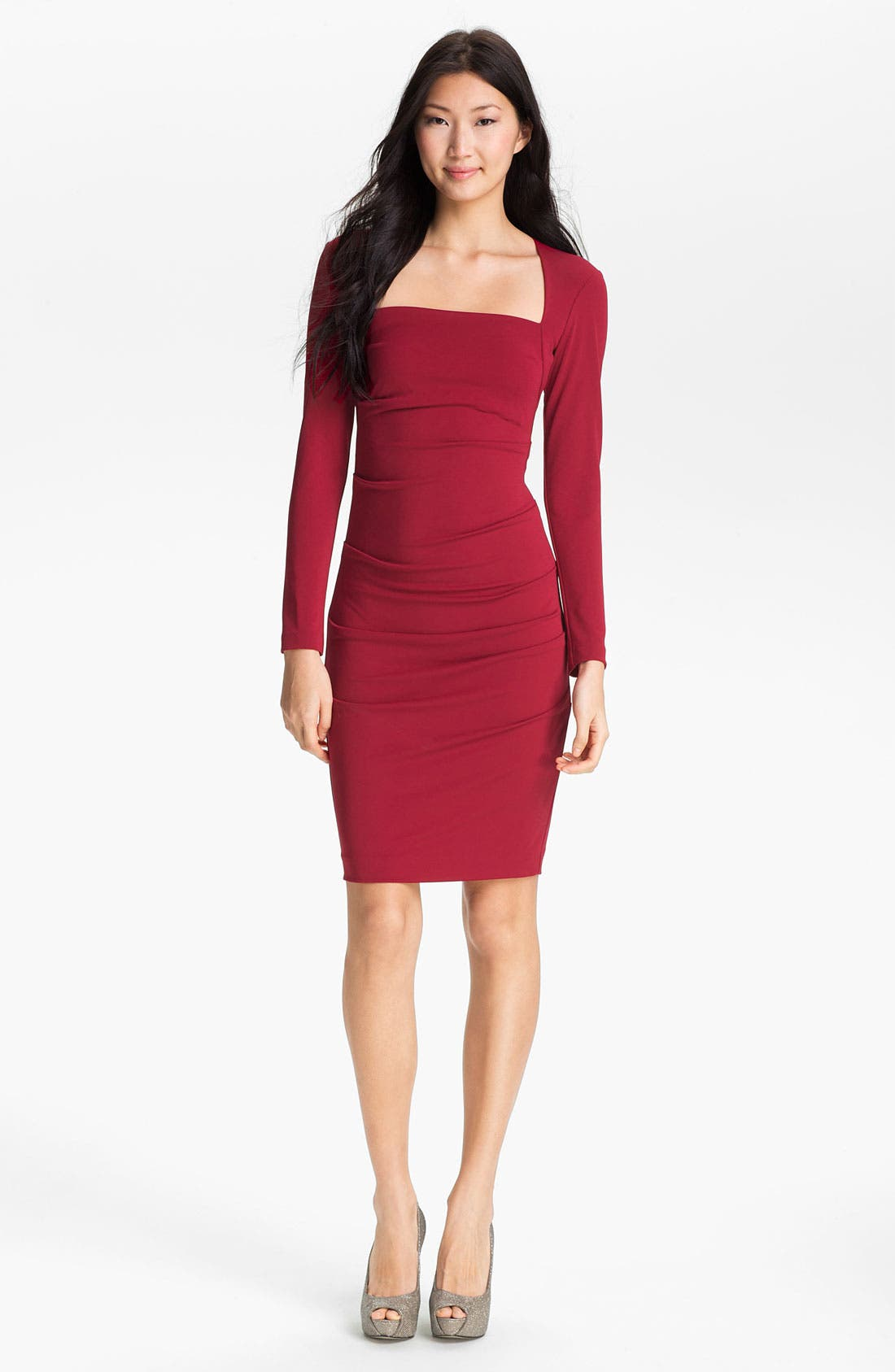 Alternate Image 1 Selected - Nicole Miller Long Sleeve Matte Jersey Sheath Dress