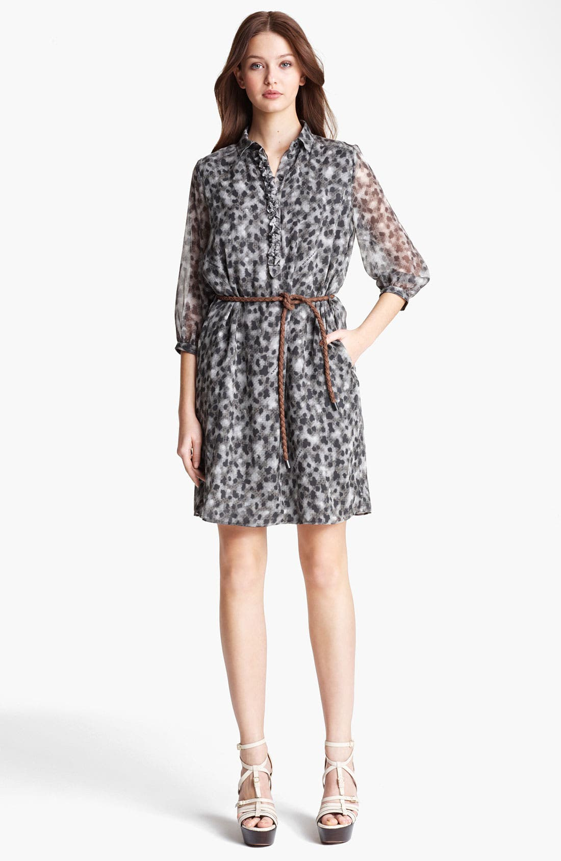 Main Image - Burberry Brit Leopard Print Silk Dress