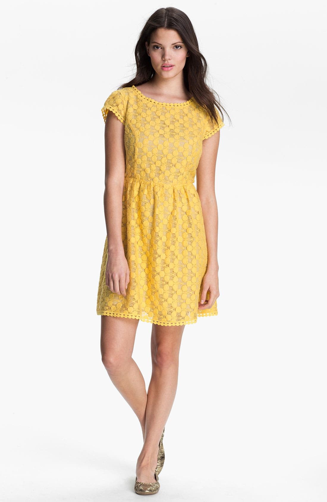 Alternate Image 1 Selected - Kensie Dot Lace Dress