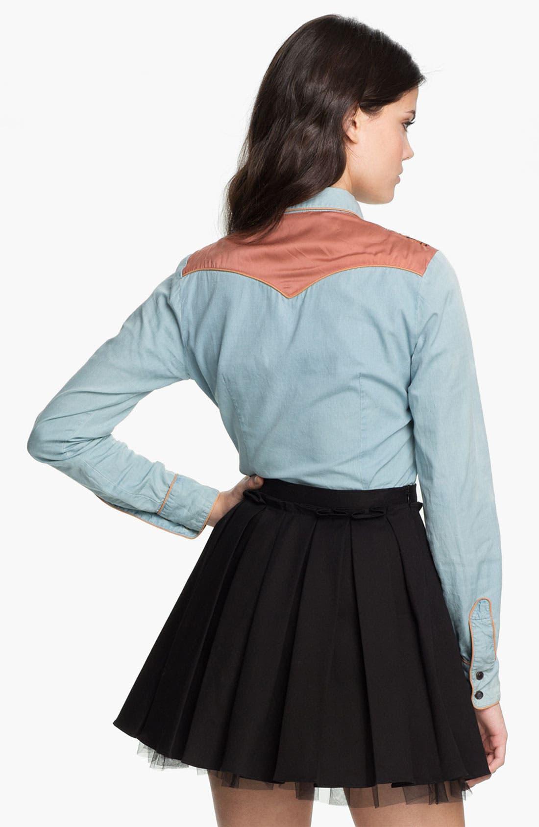 Alternate Image 2  - Maison Scotch Embroidered Chambray Shirt