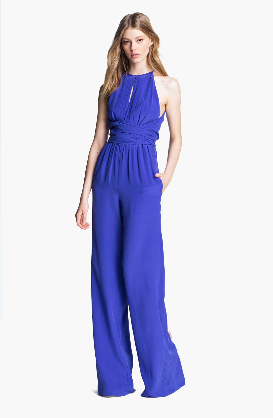 Alternate Image 1 Selected - L'AGENCE Cummerbund Wrap Silk Jumpsuit