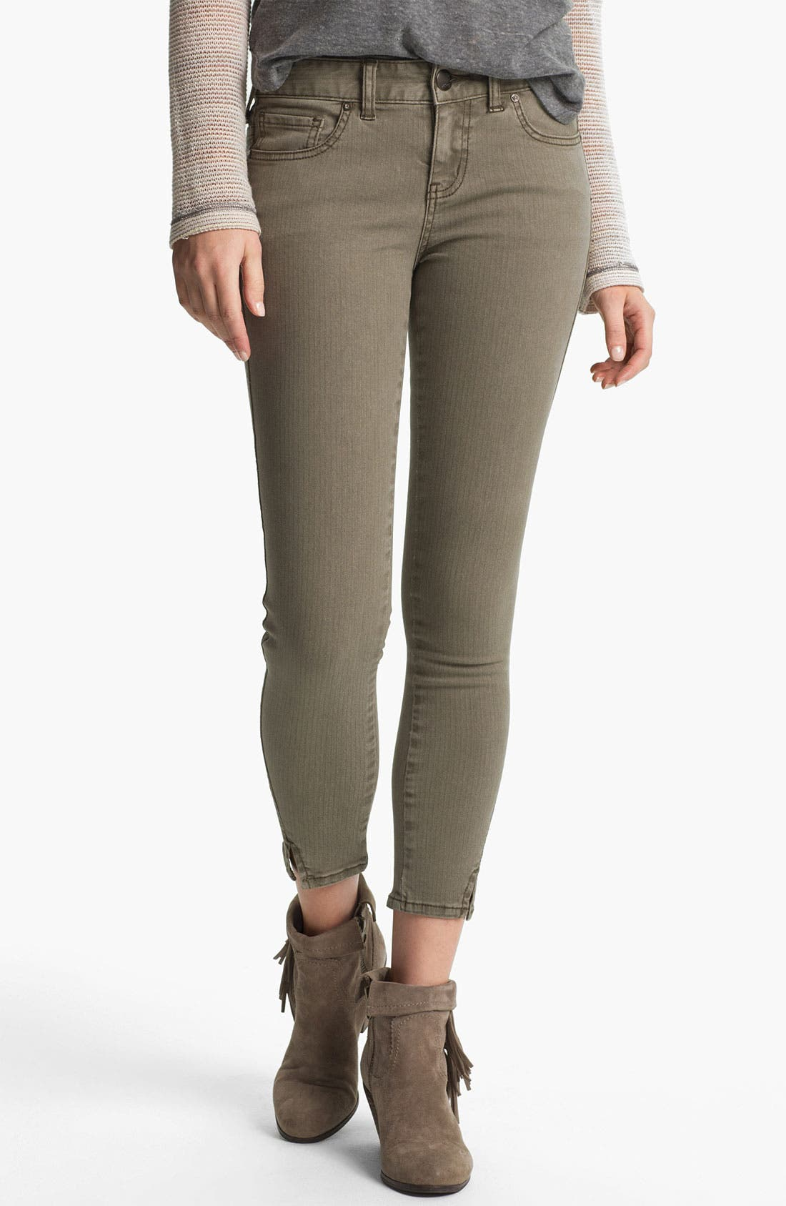 Main Image - Free People Crop Stretch Denim Skinny Jeans (Mountain Olive)