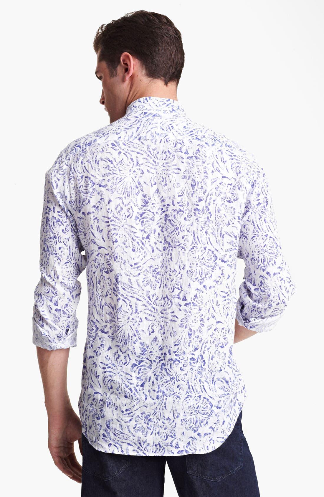 Alternate Image 2  - Armani Collezioni Floral Print Linen Sport Shirt