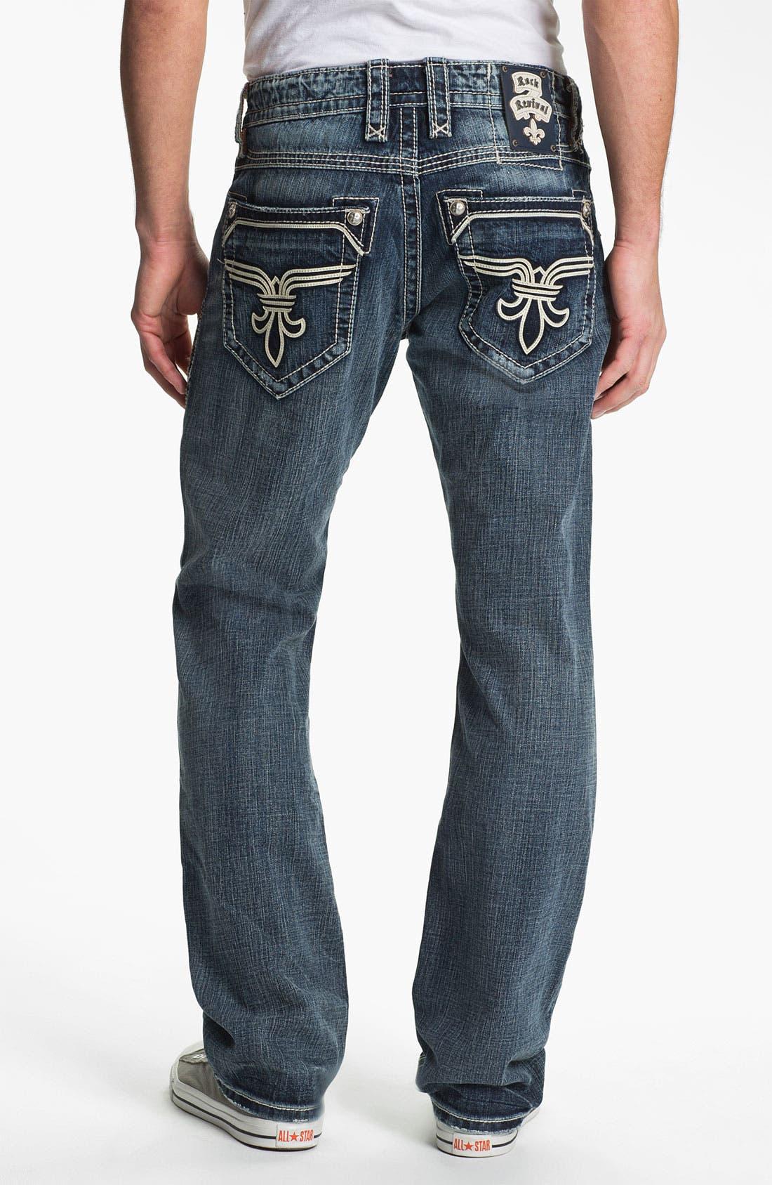 Alternate Image 1 Selected - Rock Revival 'Bobber' Straight Leg Jeans (Dark Blue)