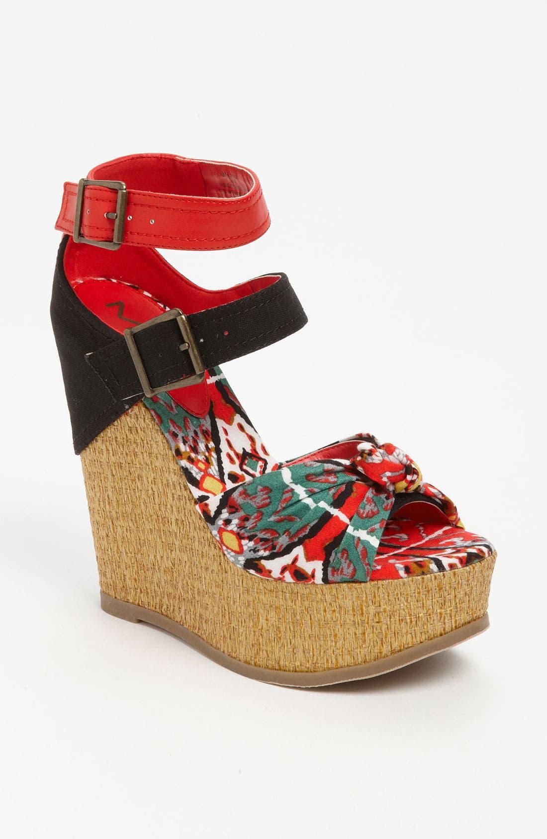 'Ellie' Wedge Sandal,                             Main thumbnail 1, color,                             Red