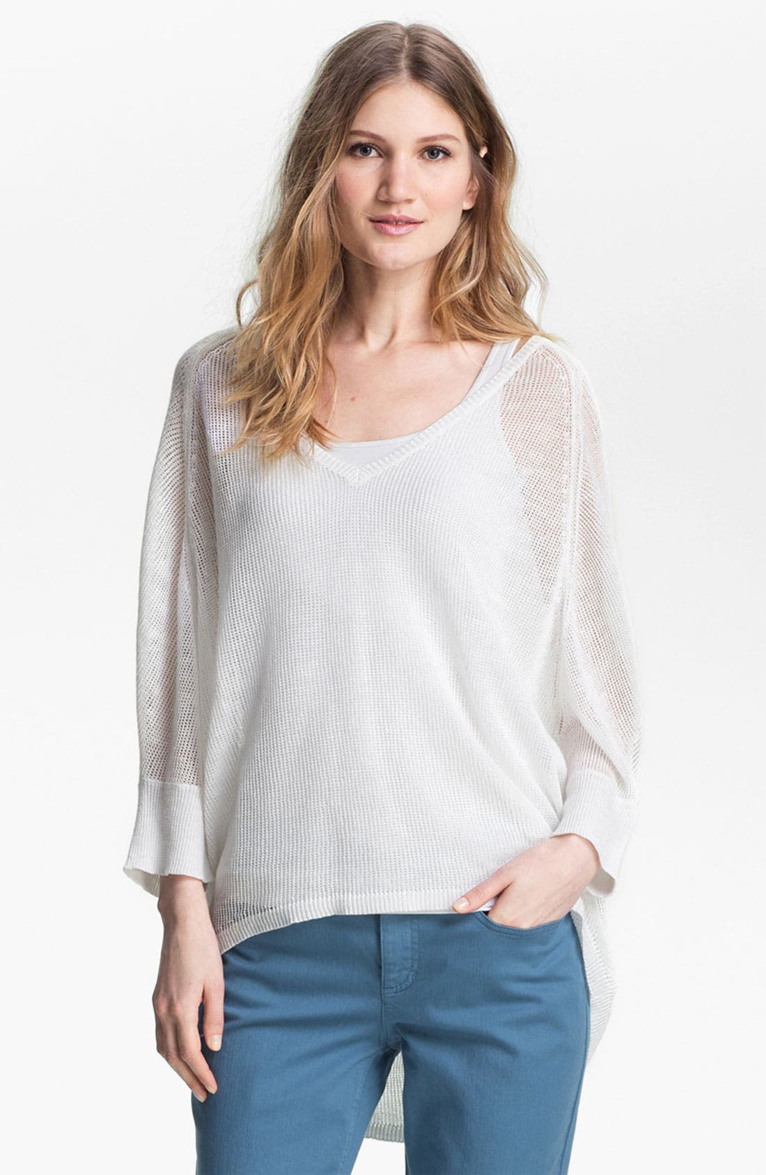 Main Image - Eileen Fisher V-Neck Mesh Sweater (Online Exclusive)