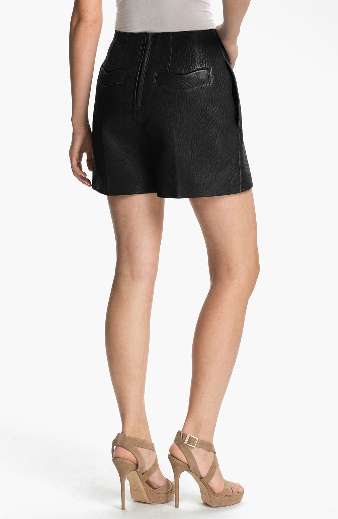 Alternate Image 2  - Carven High Waist Leather Shorts