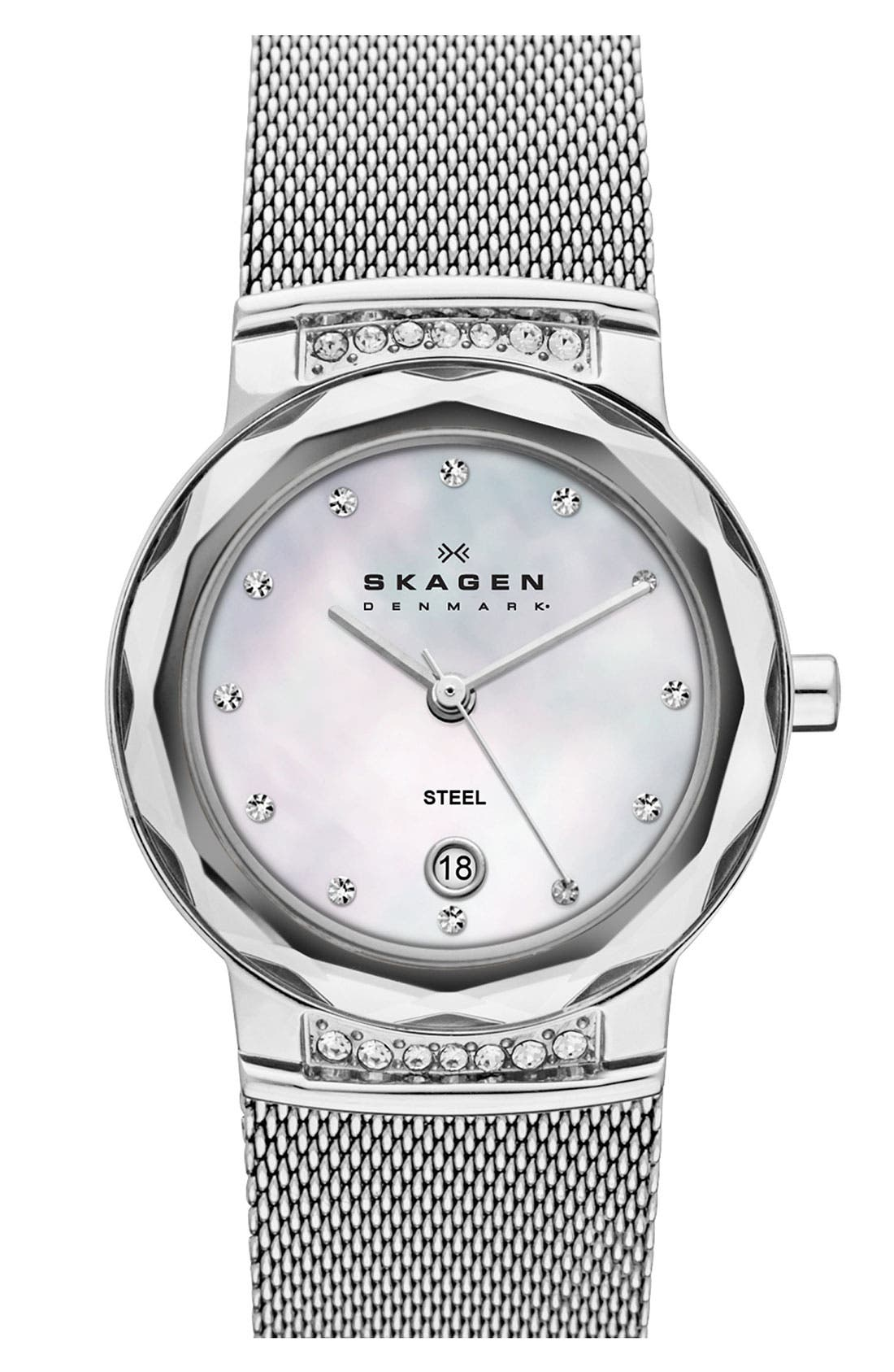 Alternate Image 1 Selected - Skagen 'Mesh' Faceted Glass Bezel Watch