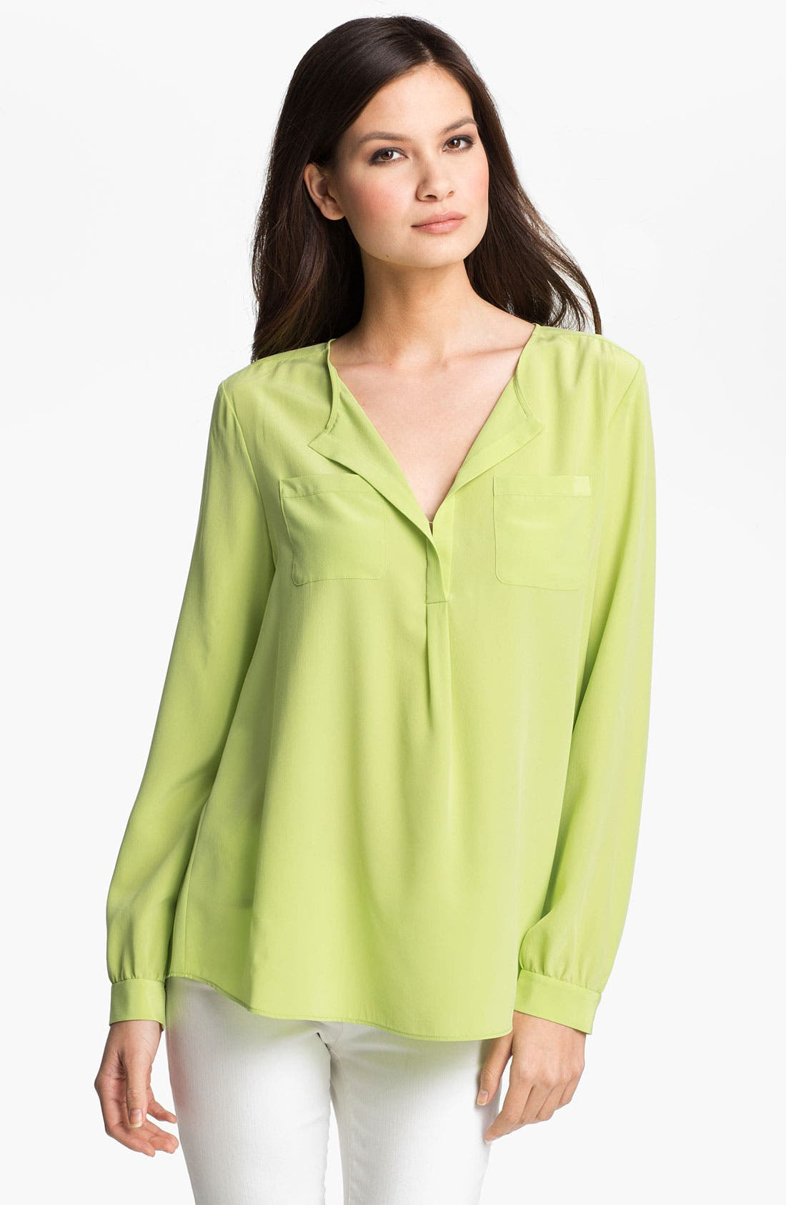 Alternate Image 1 Selected - Lafayette 148 New York 'Samantha' Sandwashed Silk Blouse