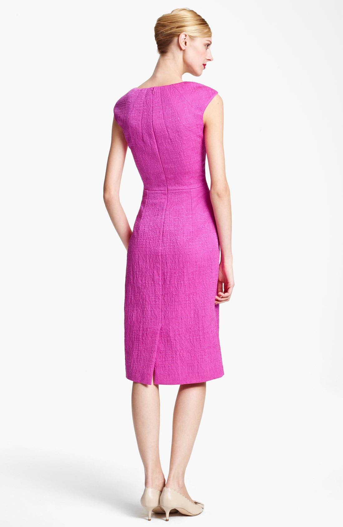 Alternate Image 2  - Oscar de la Renta Belted Crimped Cotton & Silk Dress