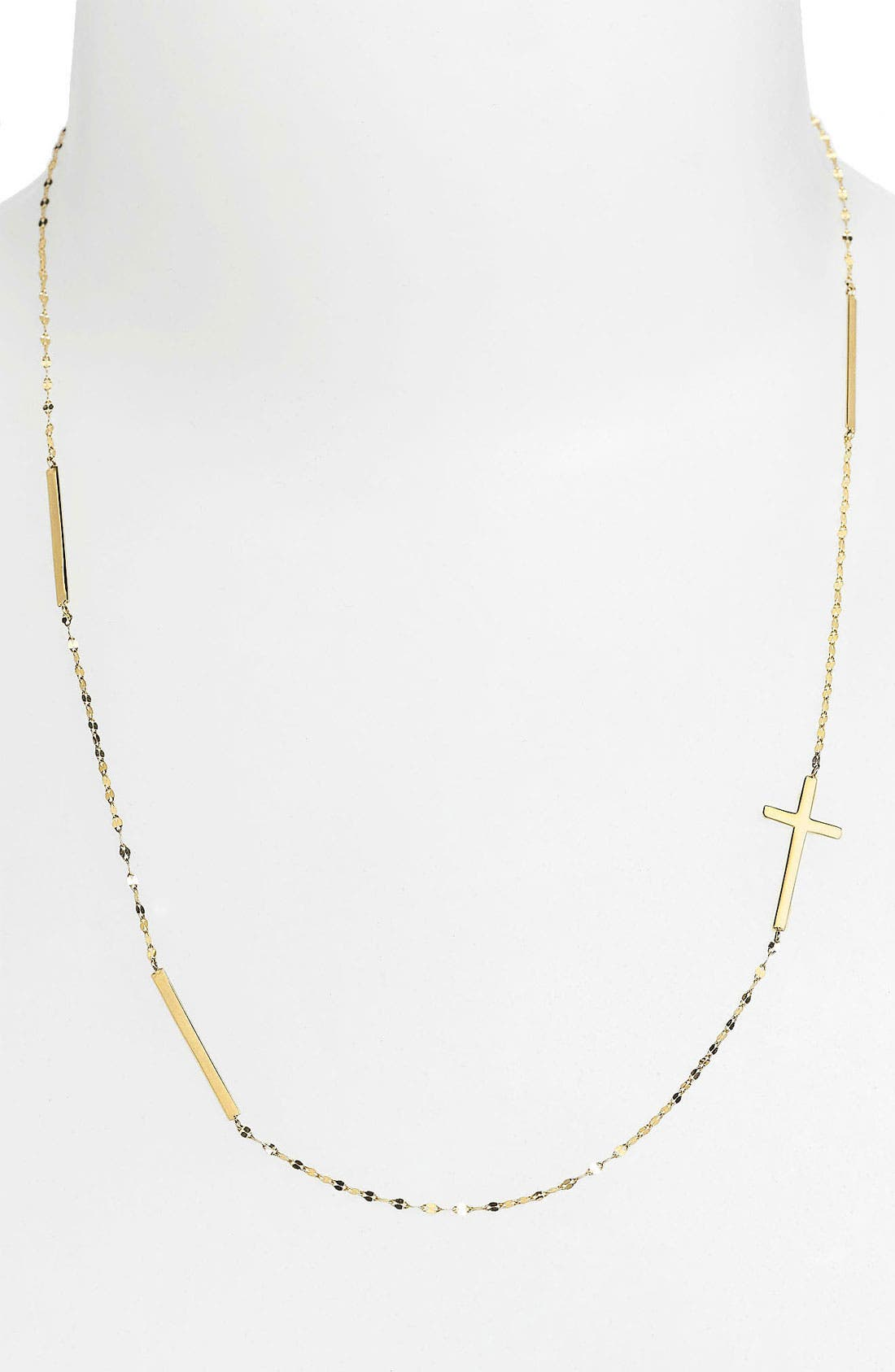 Bar & Cross Station Necklace,                             Alternate thumbnail 2, color,                             Yellow Gold