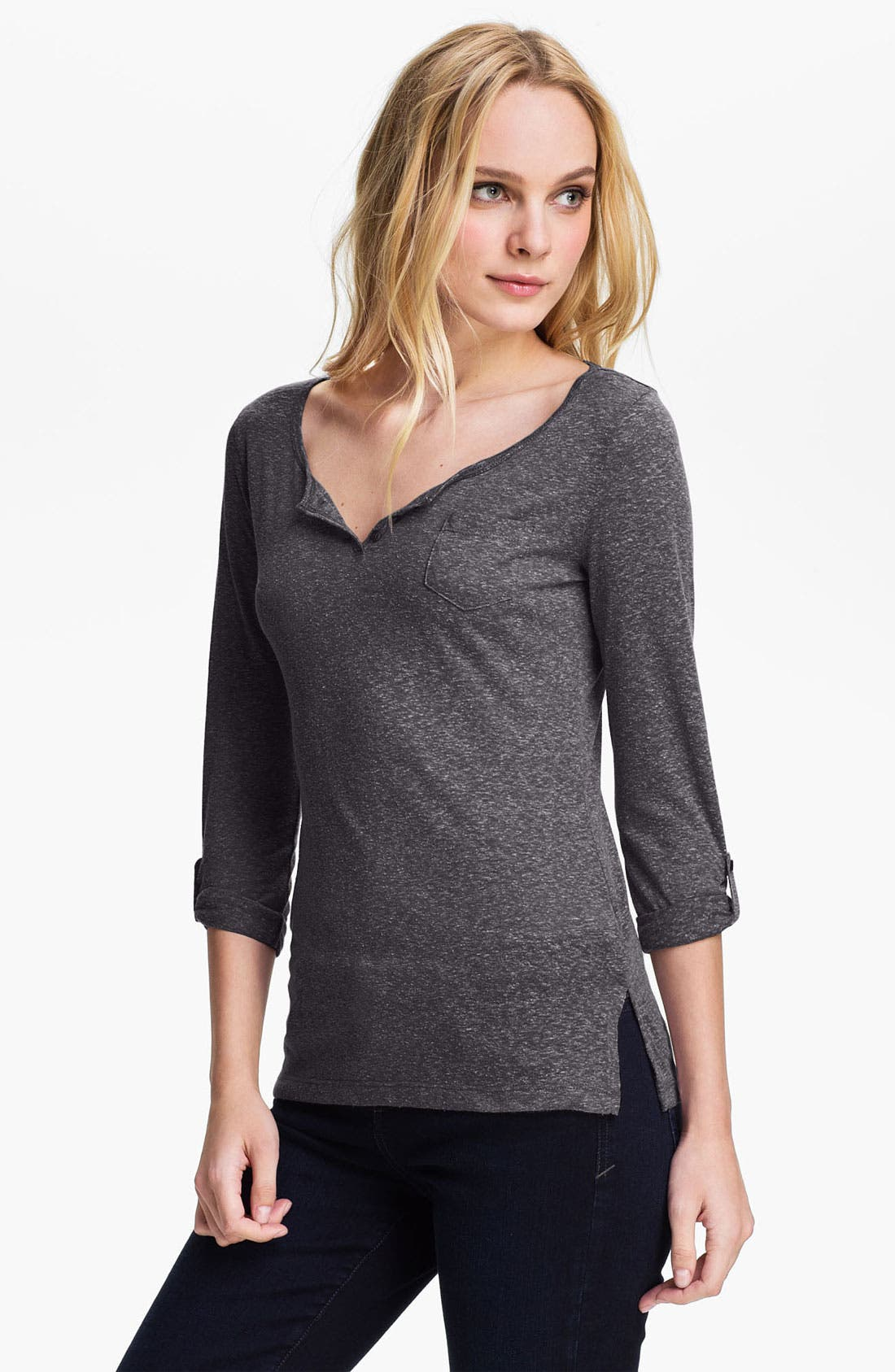 Main Image - Caslon® Roll Sleeve Henley Top