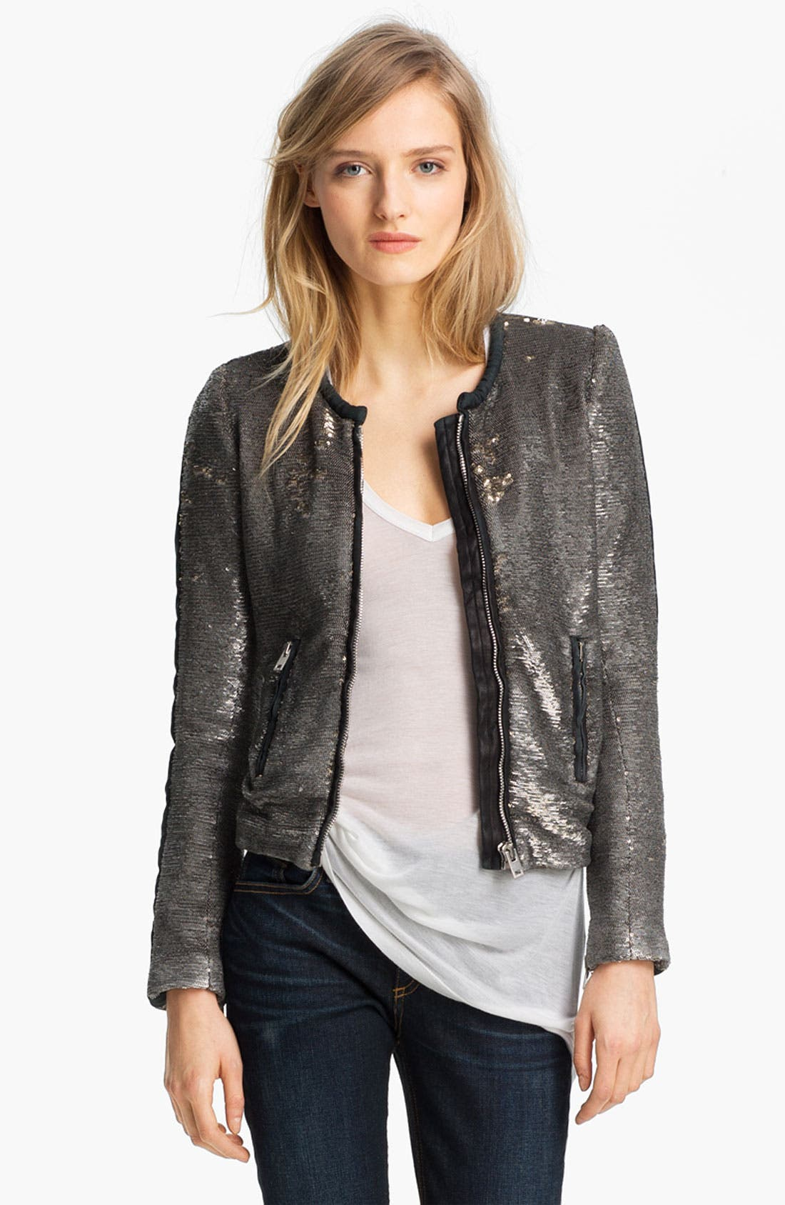 Main Image - IRO Collarless Sequin Jacket