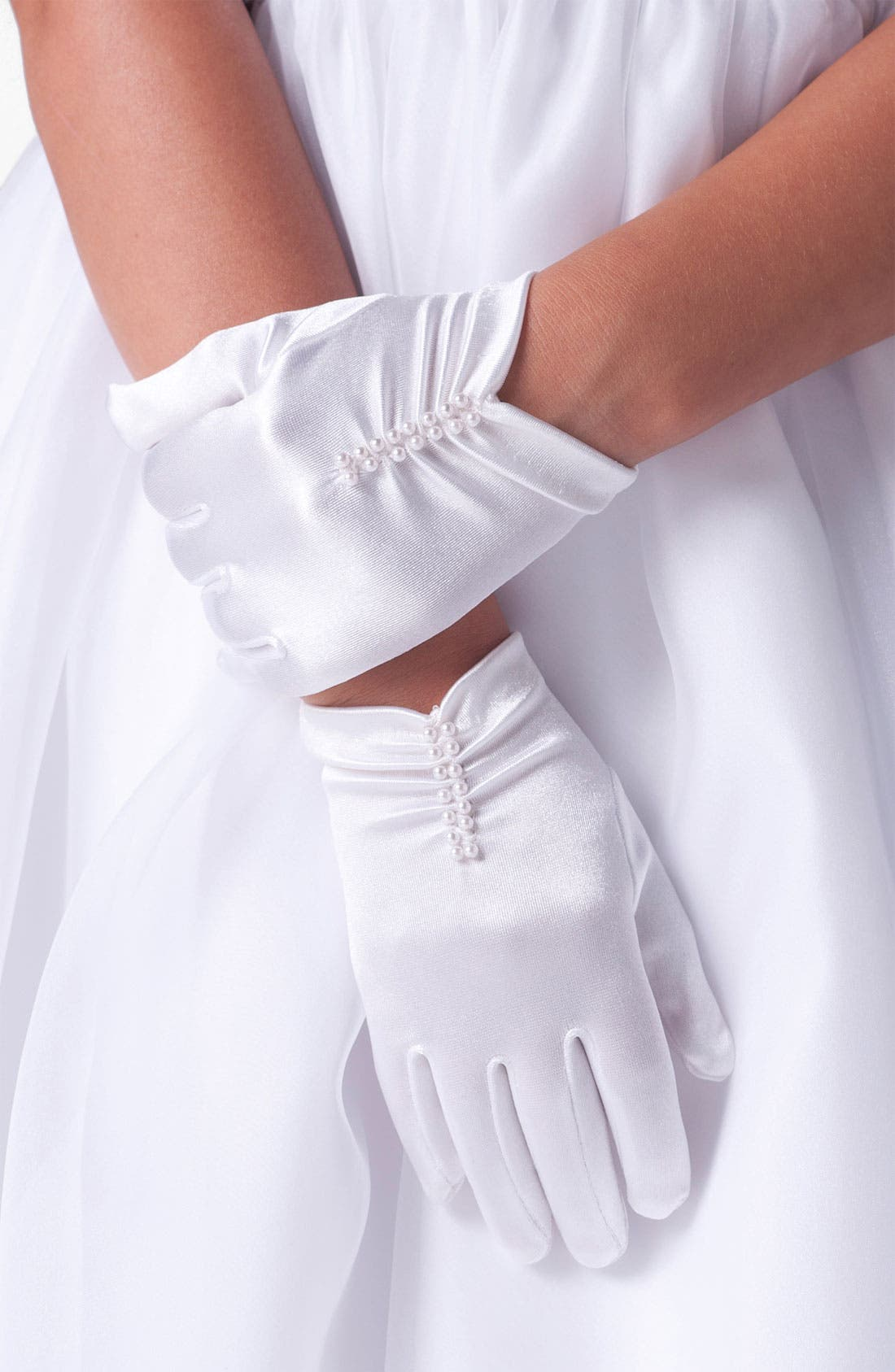 Short Ruched Gloves,                             Main thumbnail 1, color,                             White
