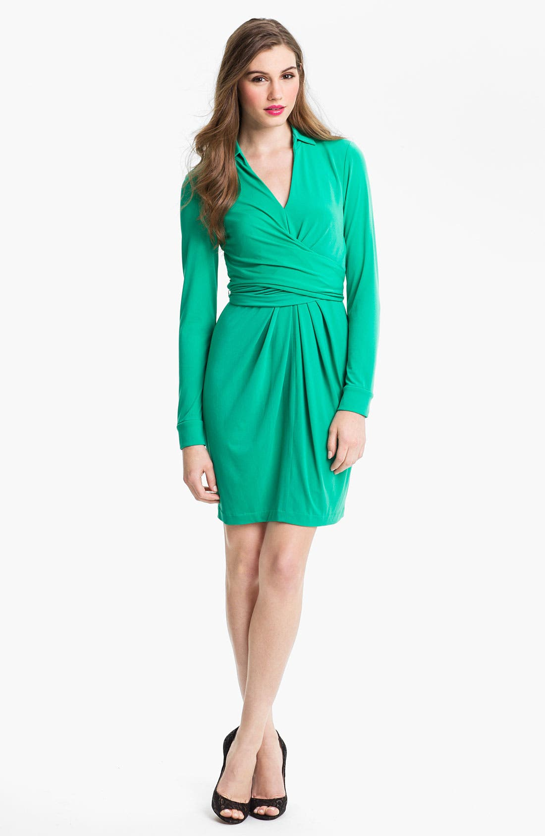 Matte Jersey Faux Wrap Dress,                         Main,                         color, Deep Green