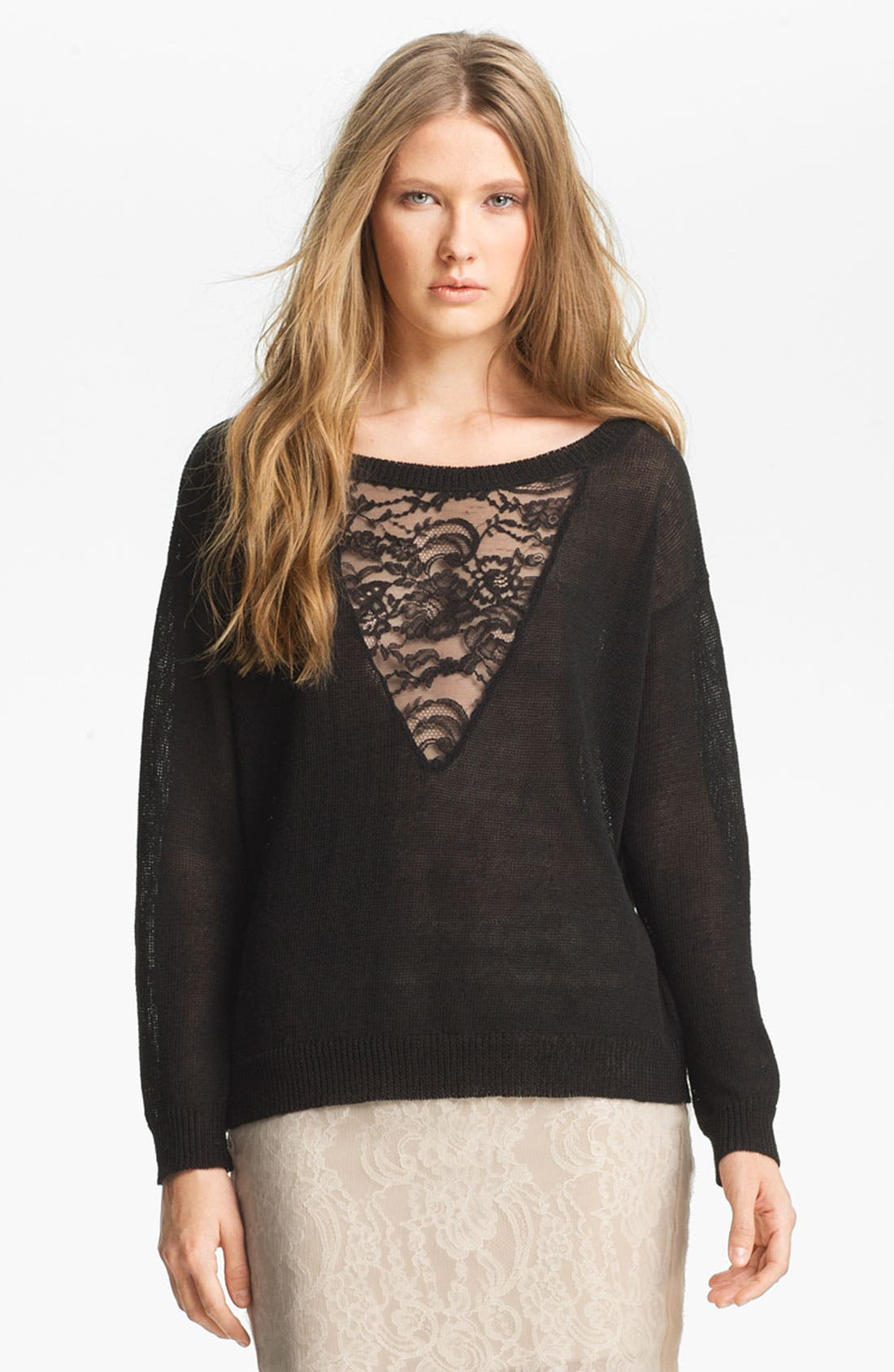 Alternate Image 1 Selected - Haute Hippie Lace Inset Sweater