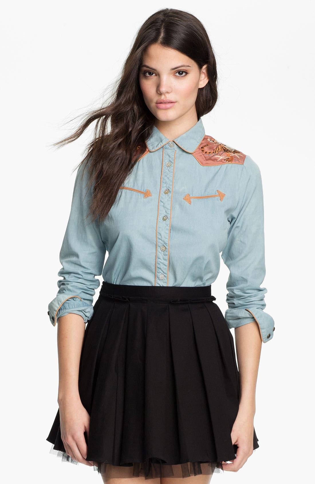 Alternate Image 1 Selected - Maison Scotch Embroidered Chambray Shirt