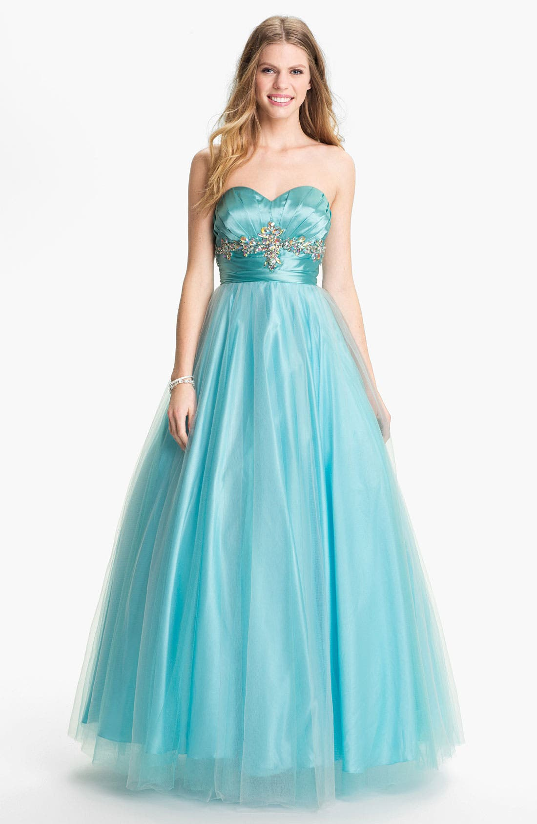 Main Image - Sean Collection 'Princess' Embellished Satin & Tulle Ballgown (Online Exclusive)