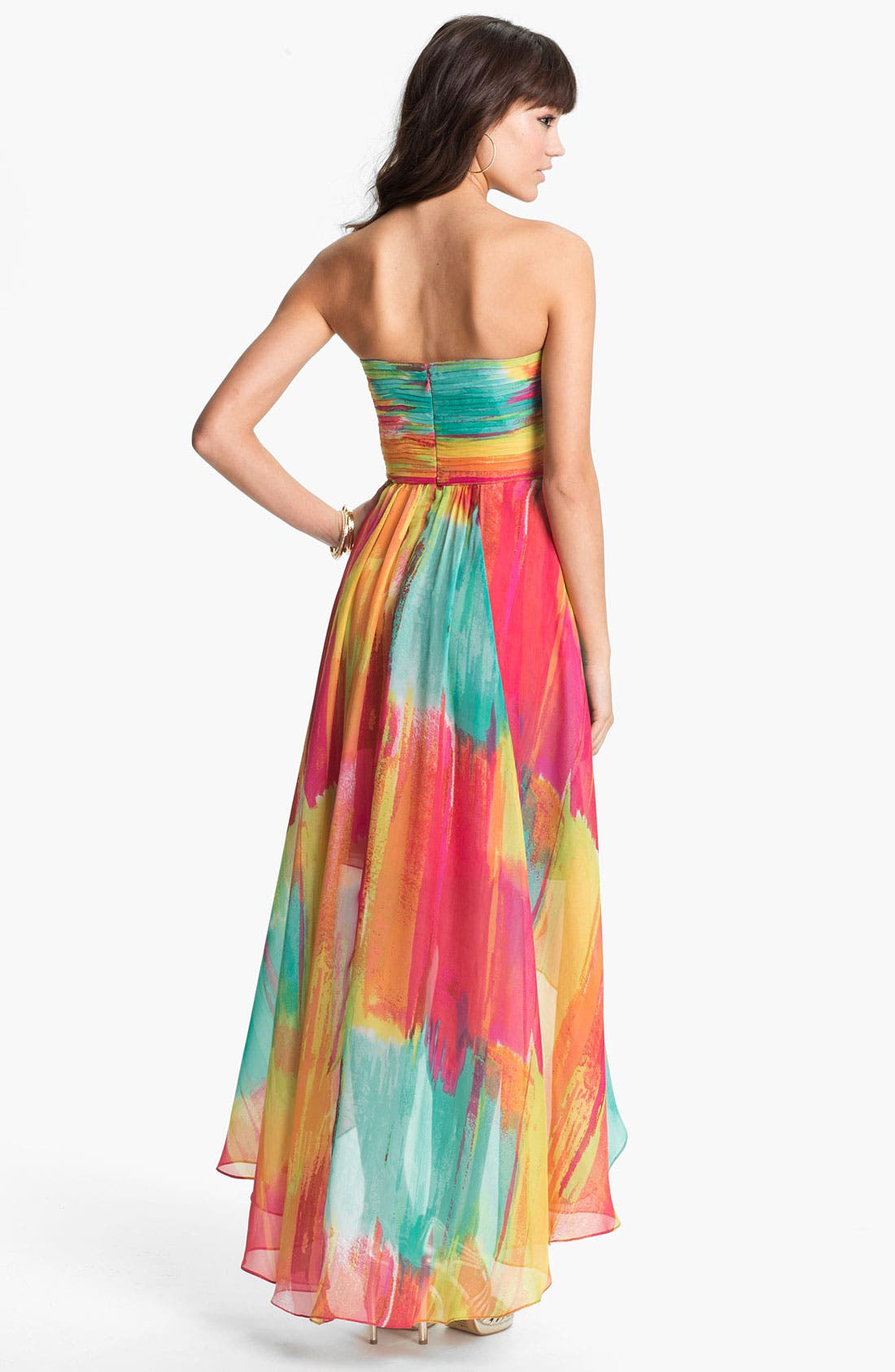 Alternate Image 3  - Laundry by Shelli Segal High/Low Print Chiffon Gown