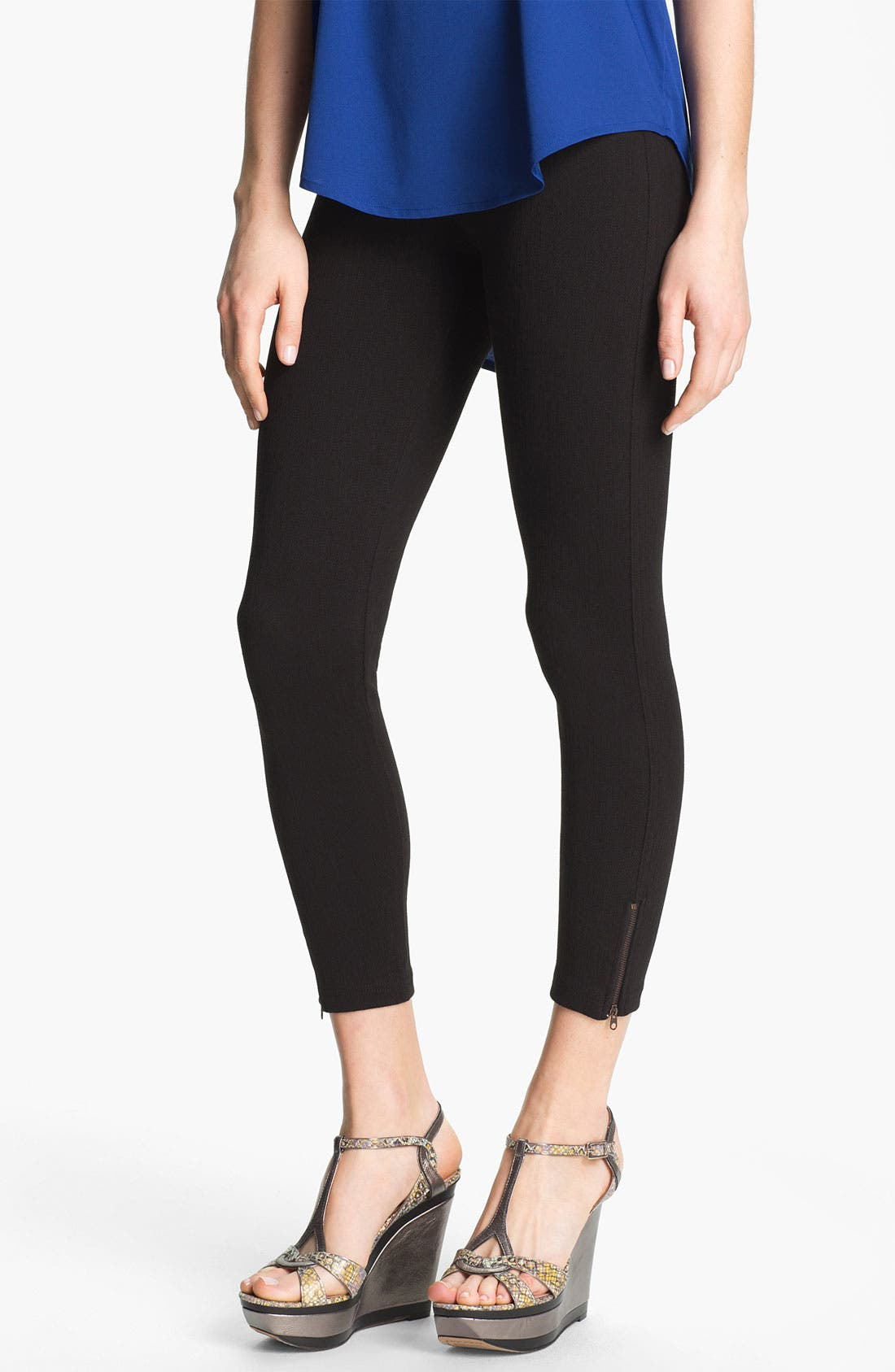 Alternate Image 1 Selected - Nordstrom Skinny Zip Cropped Leggings