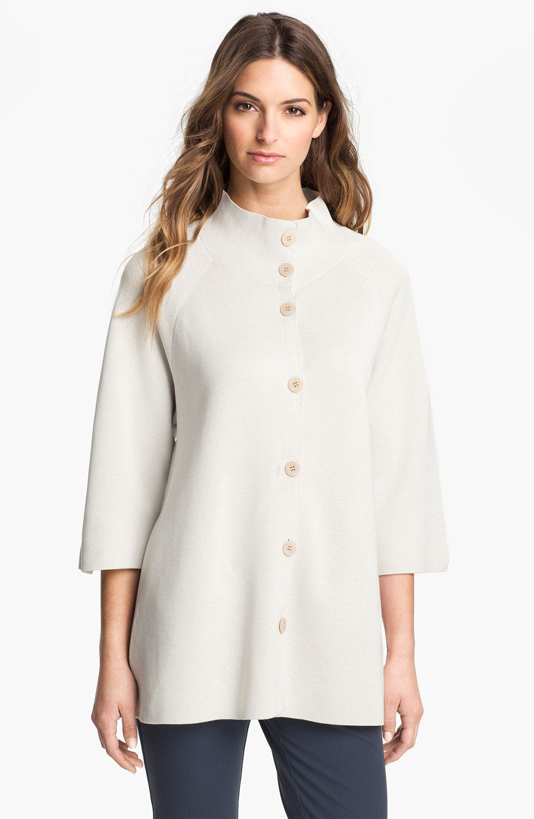Main Image - Eileen Fisher Silk & Cotton Interlock Knit Jacket (Petite)