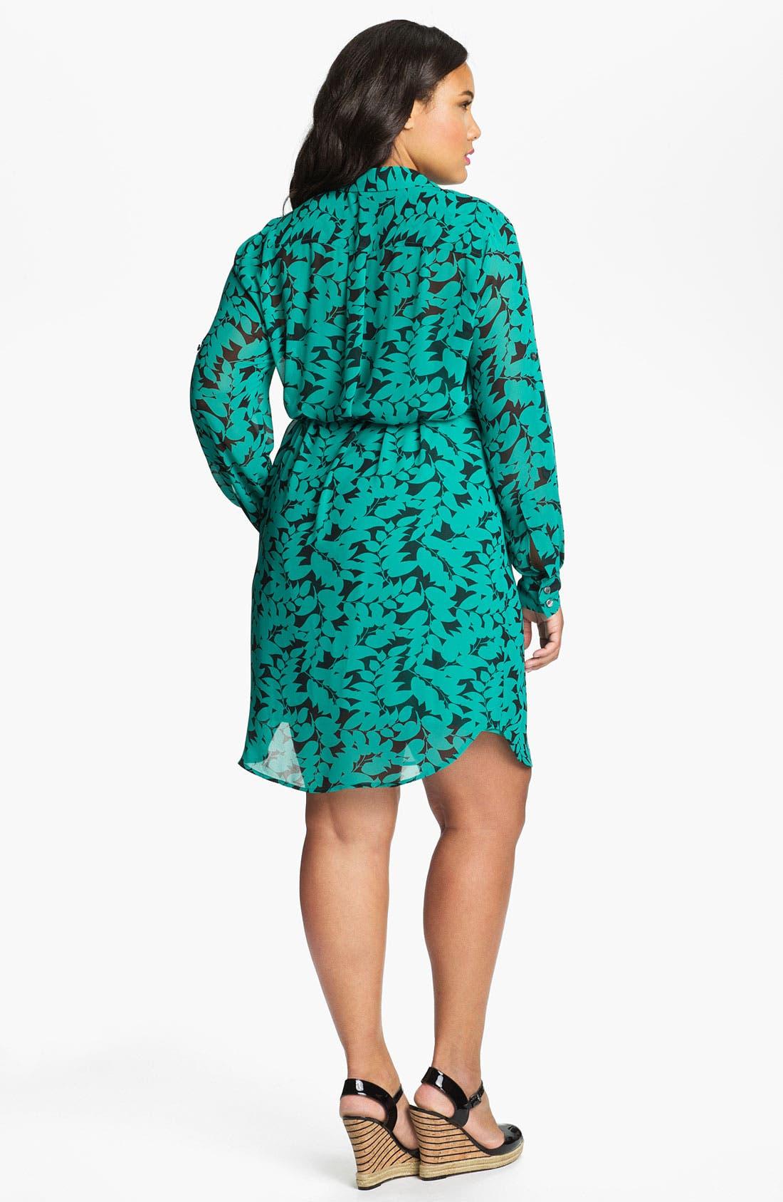 Alternate Image 2  - DKNYC Print Chiffon Shirtdress (Plus)