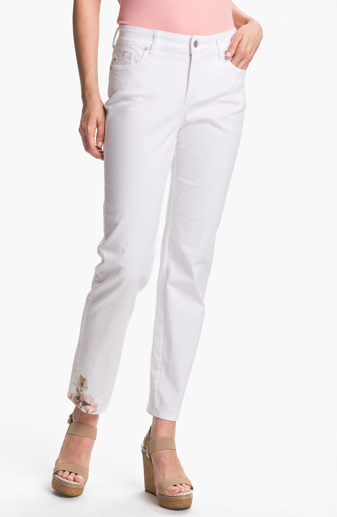 Main Image - NYDJ 'Alisha - Placed Print' Skinny Stretch Ankle Jeans