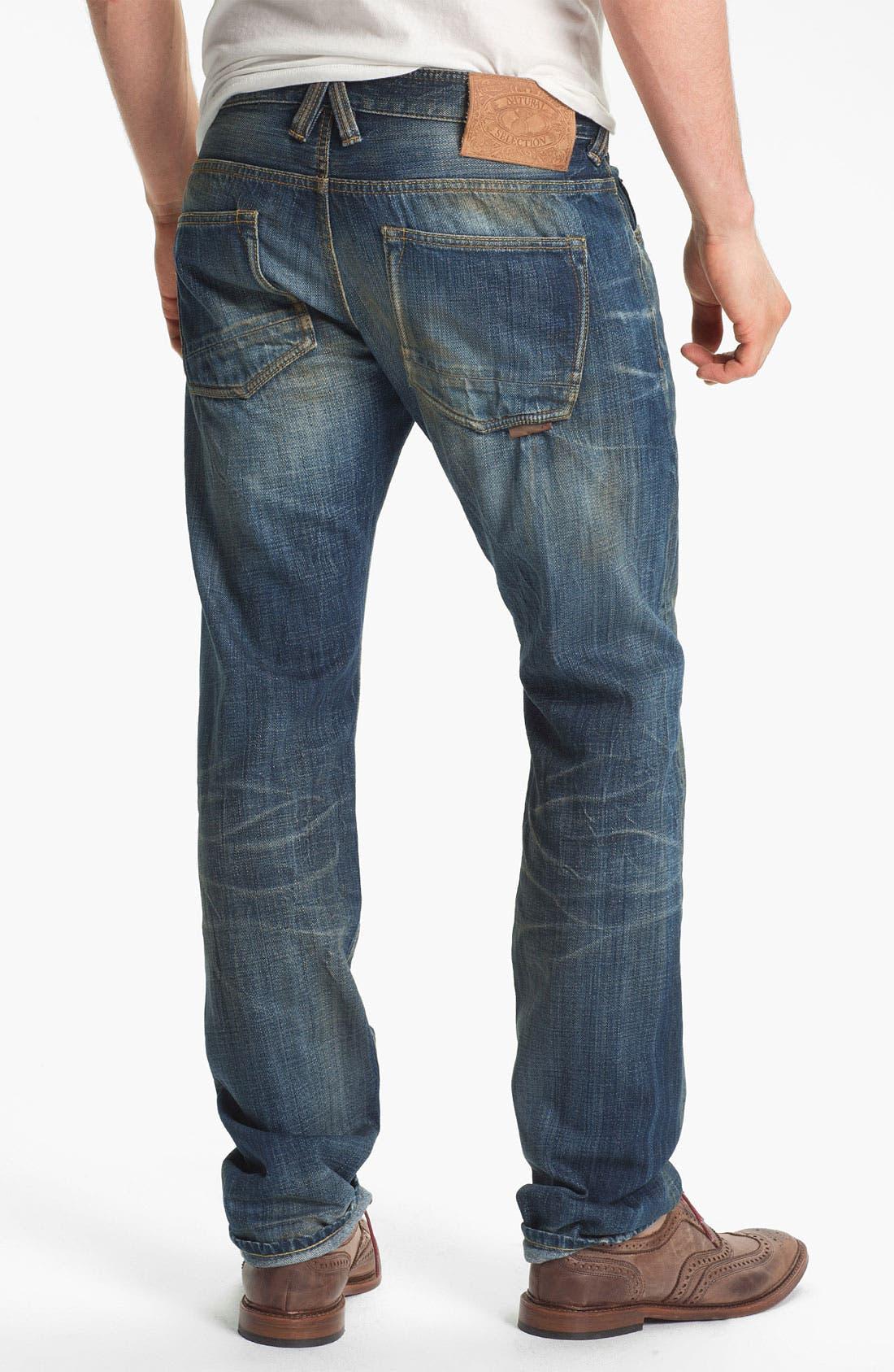 Alternate Image 1 Selected - Natural Selection Denim 'Broken' Narrow Straight Leg Selvedge Jeans (Dune)