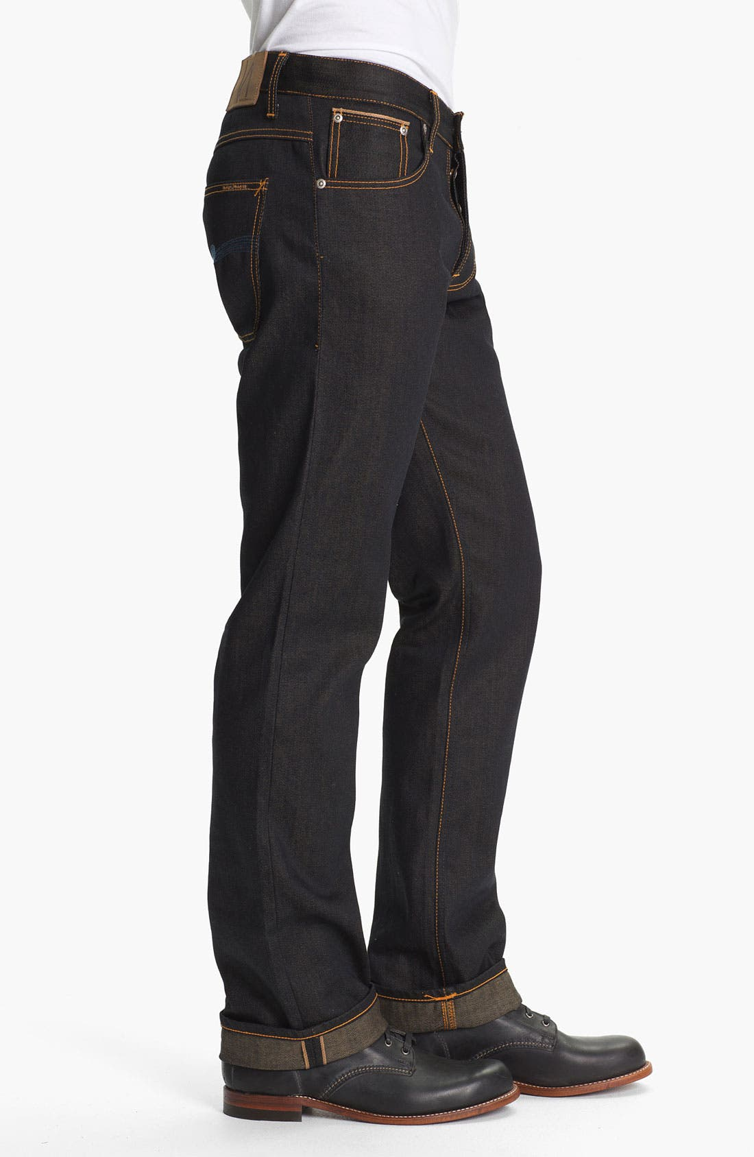 Alternate Image 3  - Nudie 'Average Joe' Straight Leg Jeans (Organic Dry Brown Selvedge)