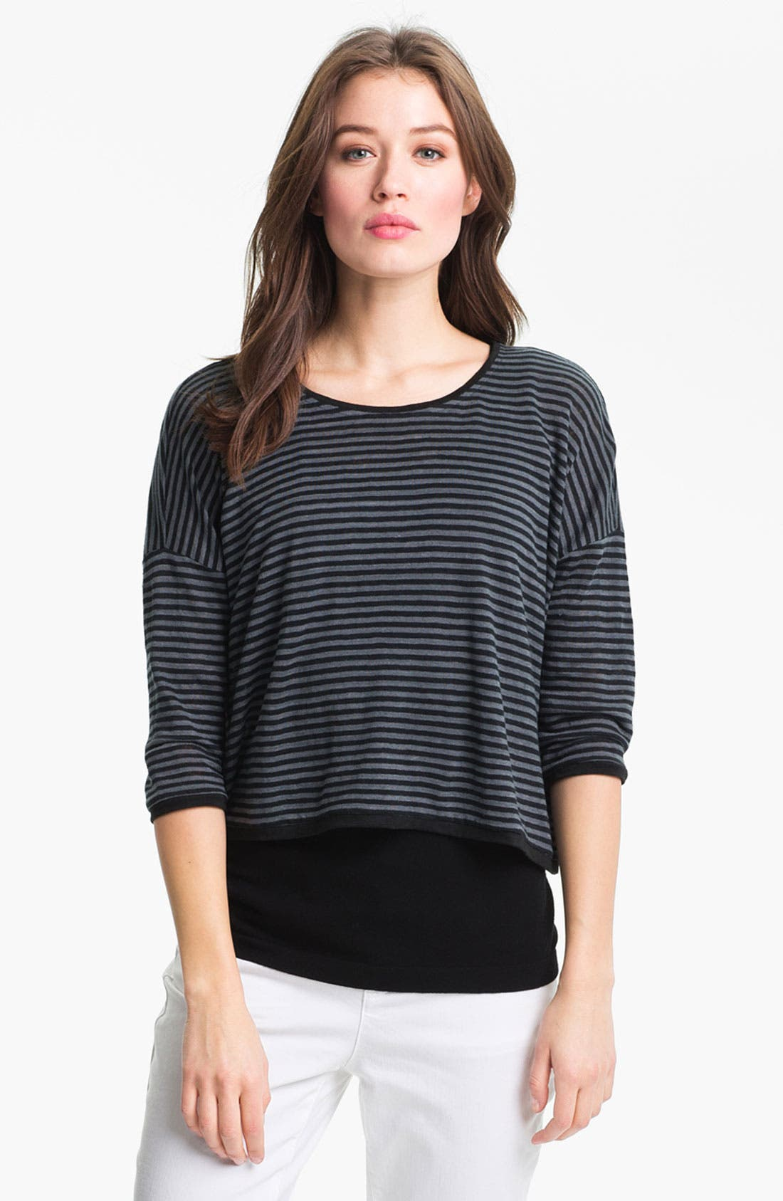 Alternate Image 1 Selected - Eileen Fisher Stripe Jewel Neck Top (Online Only)