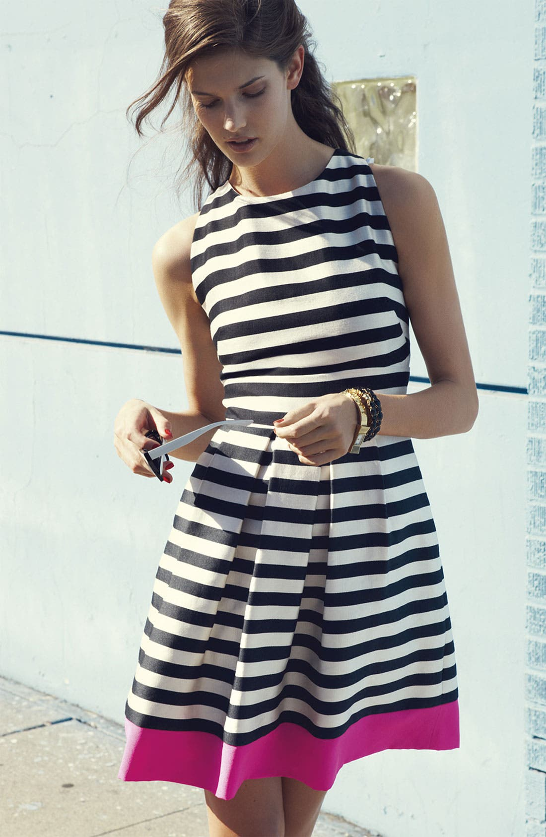 Alternate Image 5  - Eliza J Stripe Fit & Flare Dress (Plus Size)